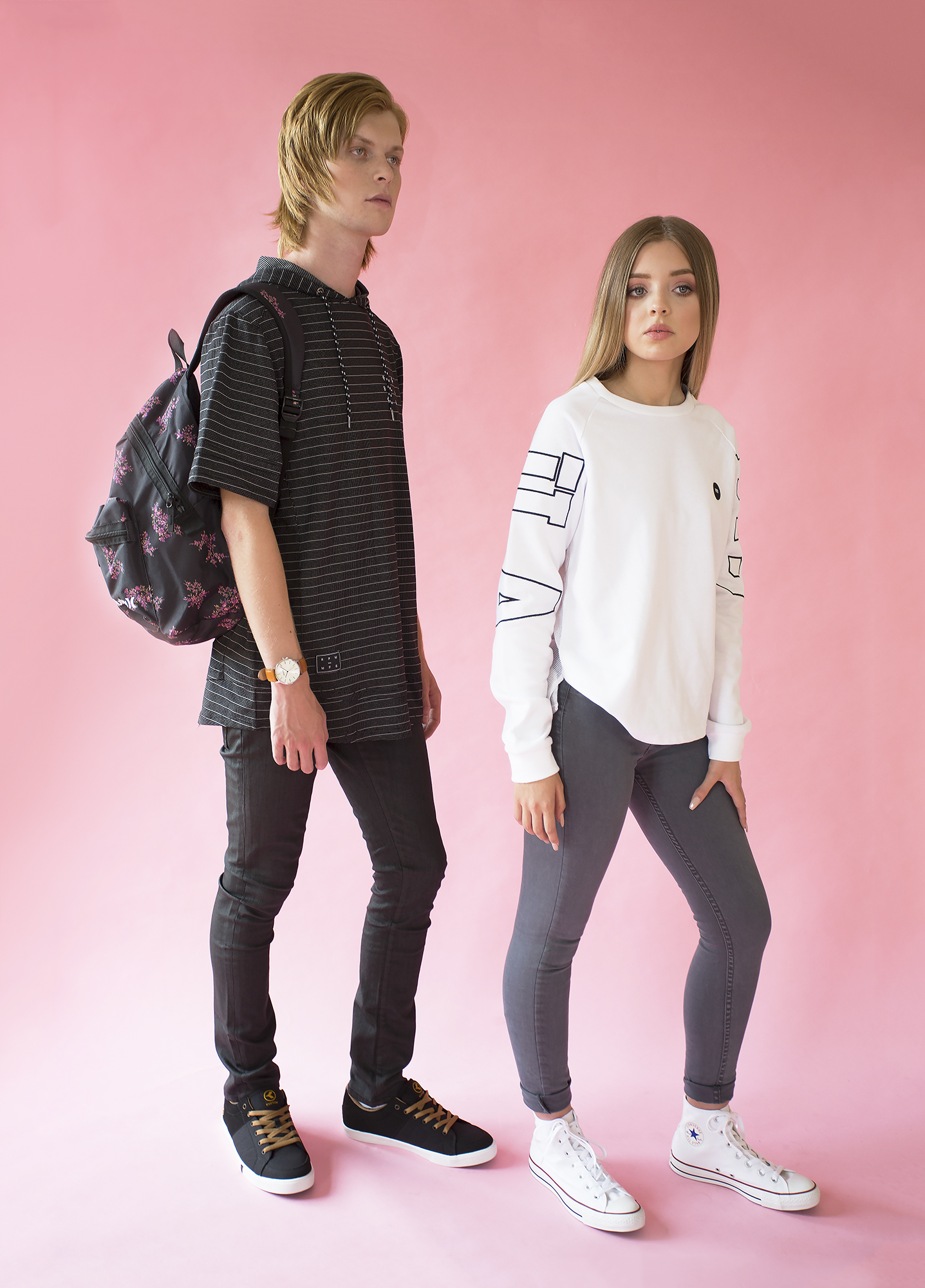 Jesse and Tegan are dressed in Amazon clothing (including footwear and accessories)