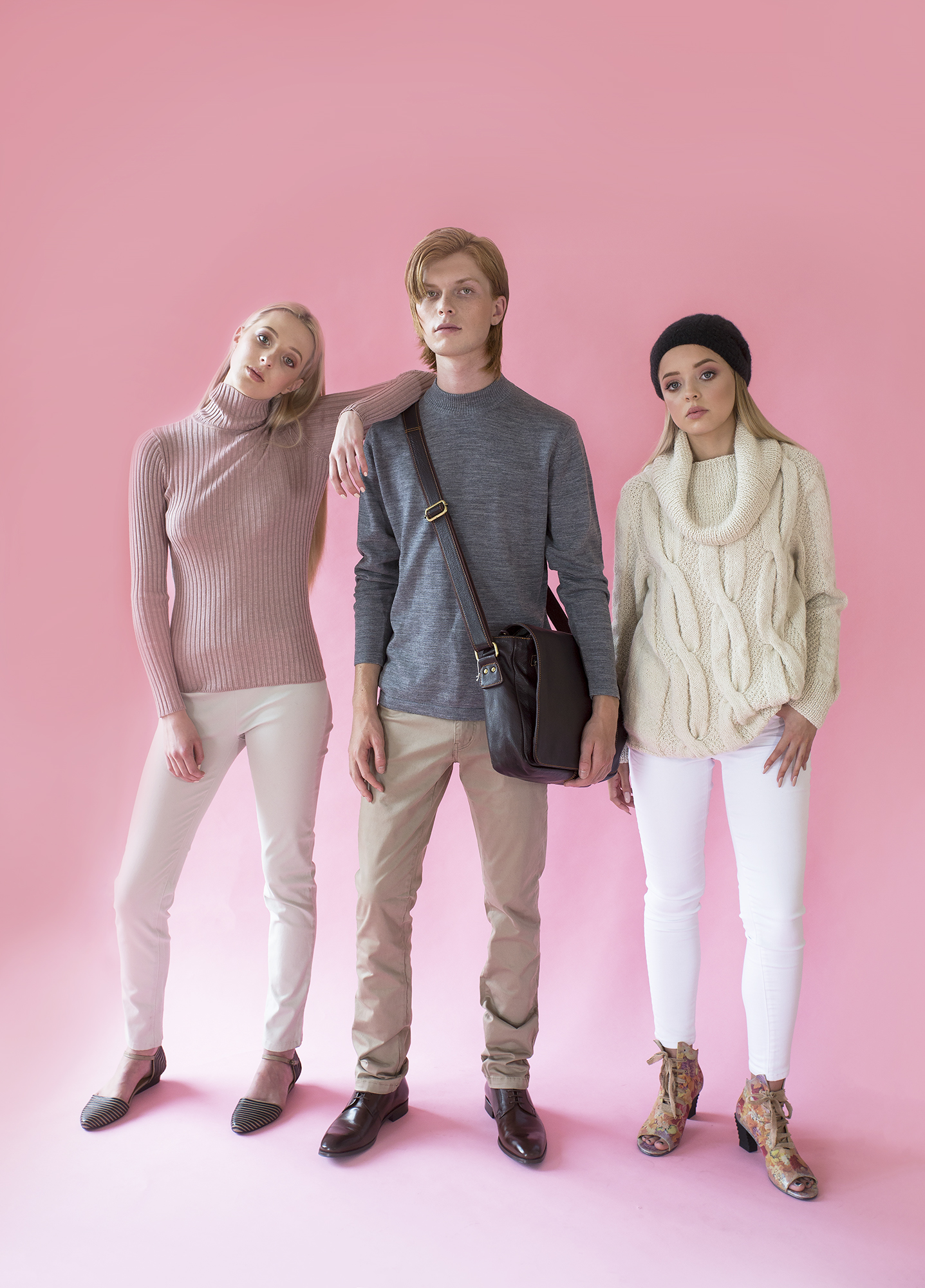 Lucy wears knit top and pants from Beetees and shoes from Tango's. Jesse is dressed in clothes from Nelson Tailors Menswear (including footwear and bag). Tegan wears Cruellas Natural Fibre Boutique wool jersey and beanie, jeans from Just Jeans and footwear from Tango's.