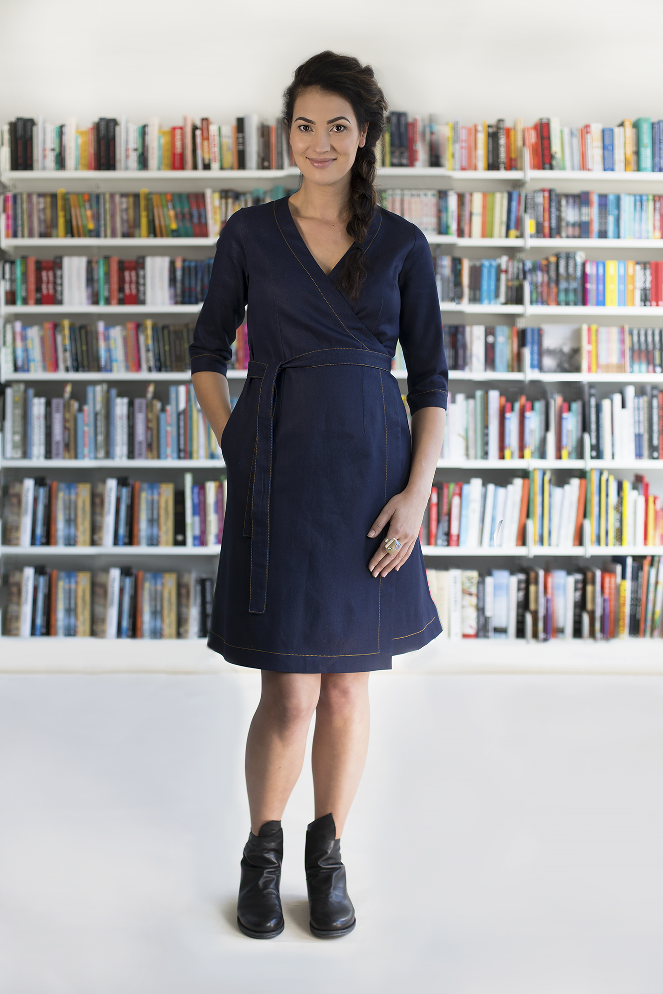 Mika 3/4 Sleeve Wrap Dress in Denim