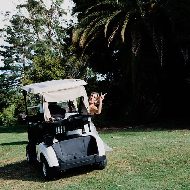 A whole lotta peace in a golf cart - gotta have fun on your wedding day