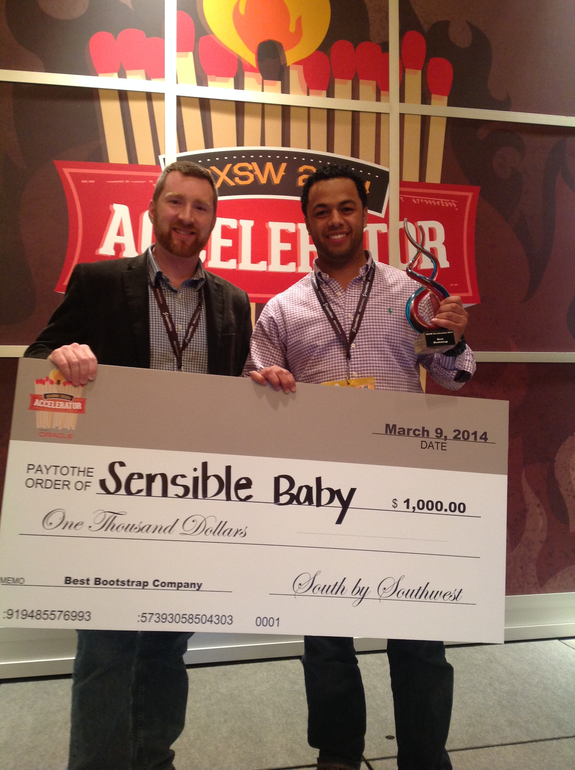 """Best Bootstrap Company"" winner at the 2014 SXSW Accelerator in Austin, TX"
