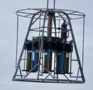 A Mega Corer, housing 8 sediment cores collected from the seafloor.  Credit: Allison Jacobel