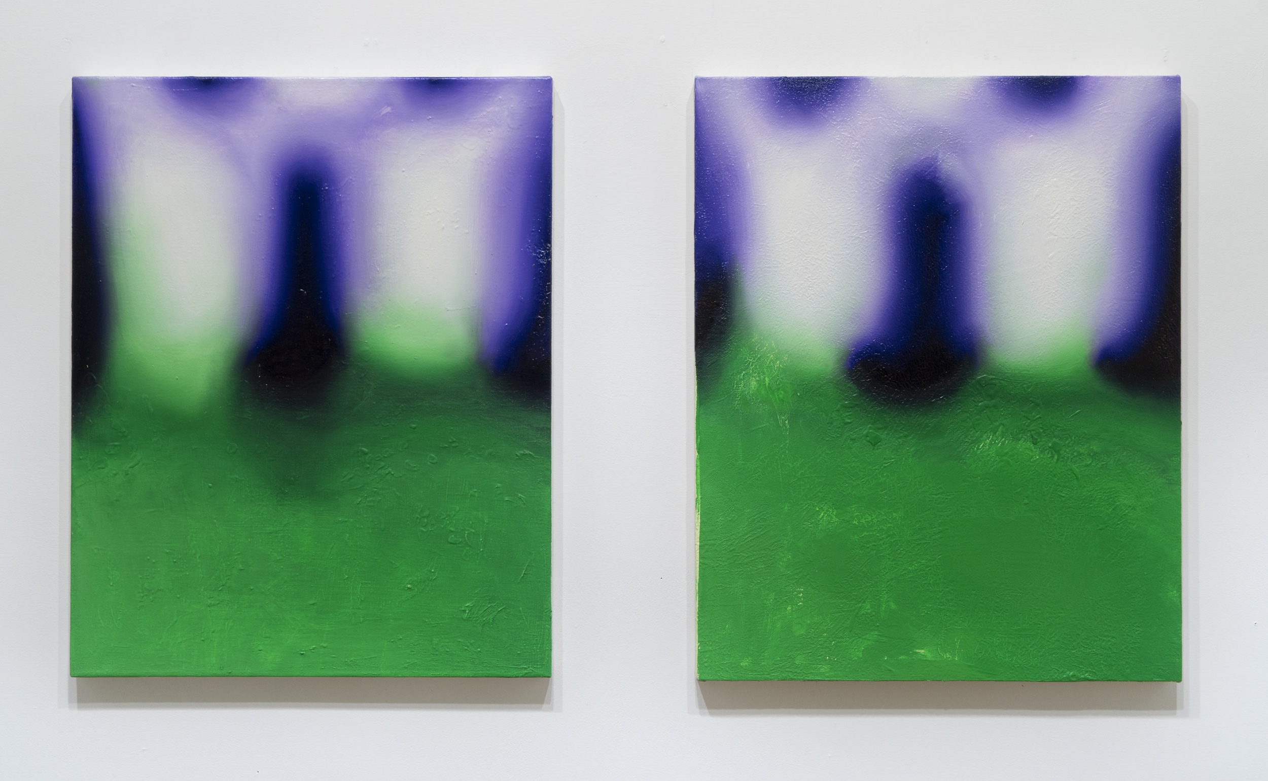 Infernal Method   Oil on two canvases  20 x 36  2015