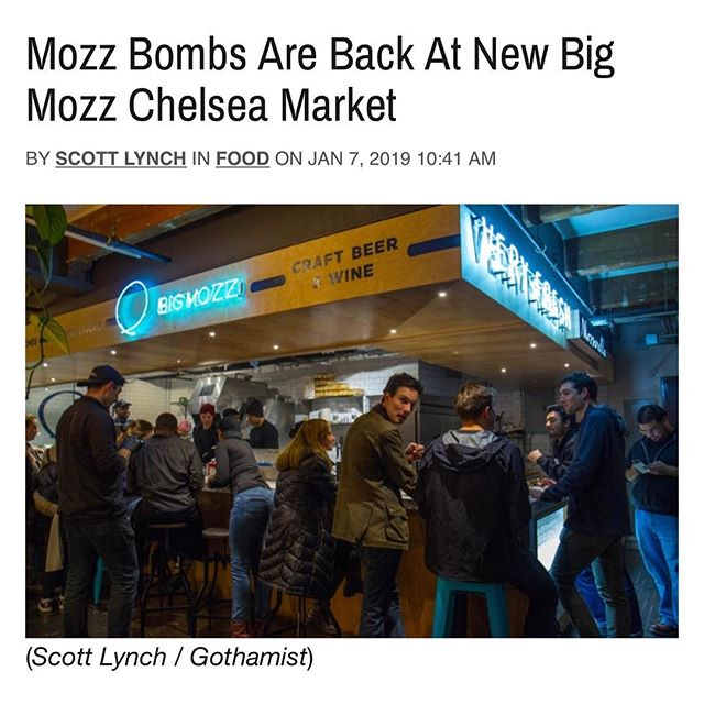 Check out @scoboco article about his visit to our new Chelsea Market location in Gothamist 📸📰 #BigMozz #ChelseaMarket
