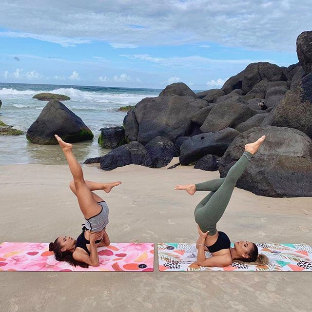 Two beauties making shapes on the beautiful Serenity + Bliss YOGA+SCULPT yoga mats 🙌🏼