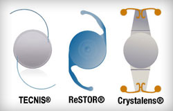 Various types of presbyopia-correcting intraocular lenses.