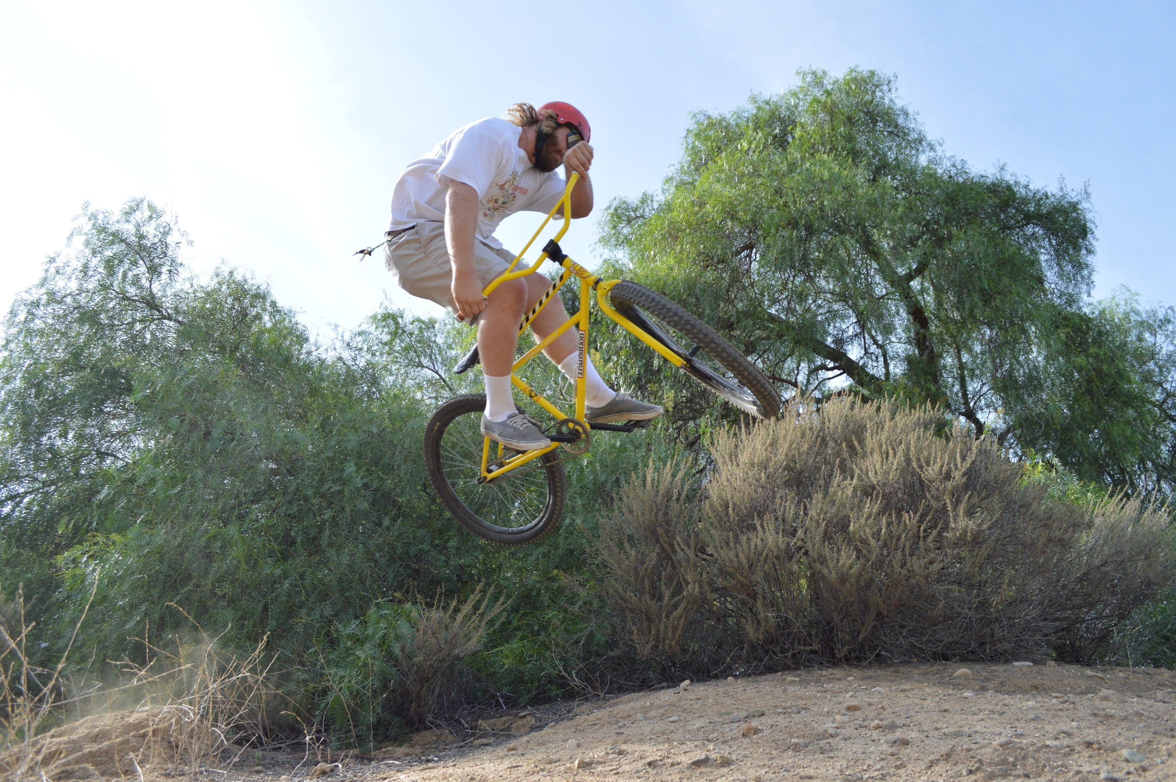 """Carl Hulick getting rowdy on the Transition Klunker. A wise man once said, """"keep it simple stupid"""". Well the klunker is about as simple as it gets. Fully rigid, chromoly steel fork, no hand brakes, and a damn good time. The klunker puts all technology aside and focuses on what really matters. Its all about riding your bike and having a damn good time doing it."""