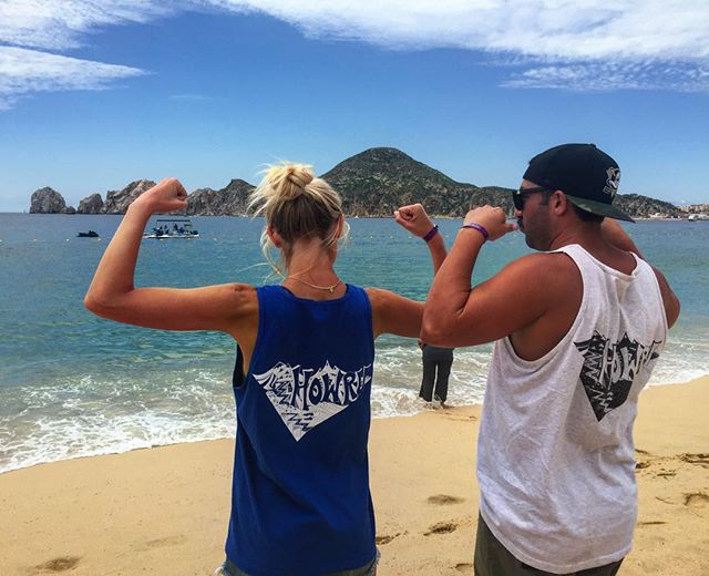 @maggiehutcherson and @quinh29 holding it down and looking swoll in the #ohhowru summer tanks. We've got a few left in XL and XXL #getsum #sharethestoke #cabo