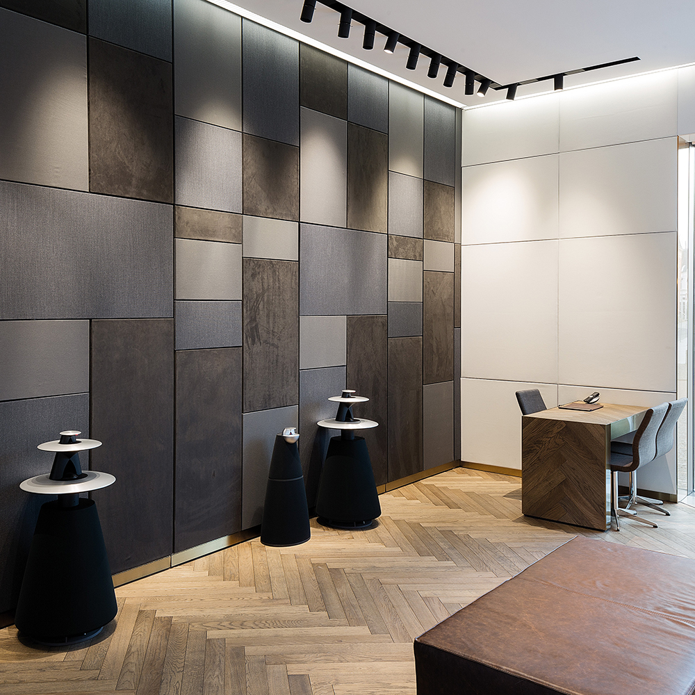 Interactive speaker wall designed to display one product at a time as part of the retail concept for Bang & Olufsen
