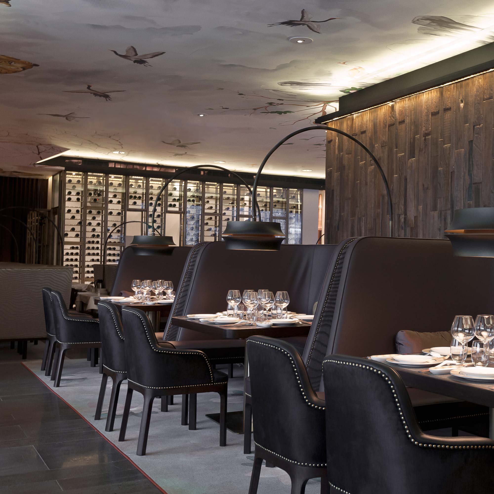 South Beauty restaurant with holistic spatial design including furniture and ceiling paintings