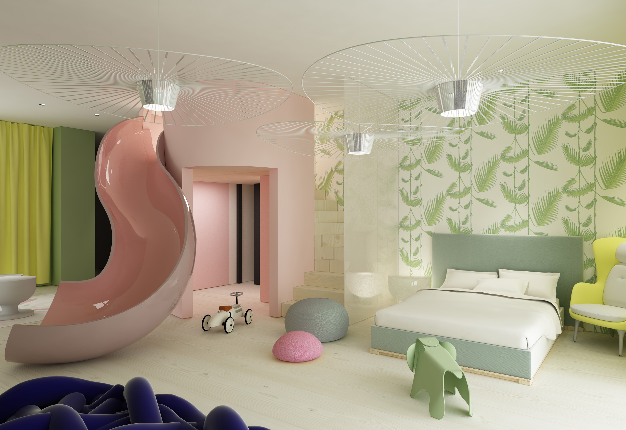 Magical bedroom for kids designed for Villa Zhao featuring pink slide