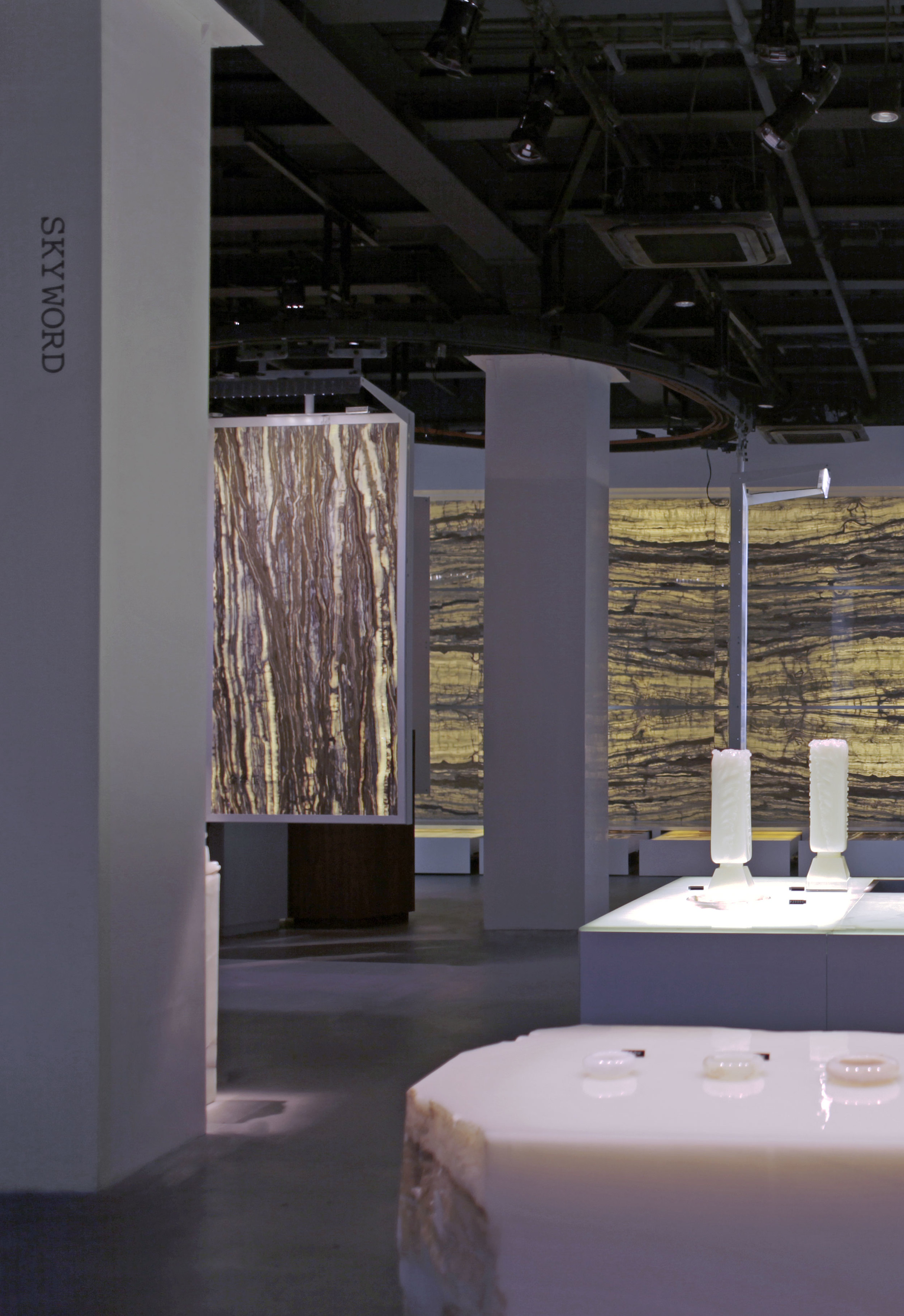Illuminated onyx sculptures in the Skyword Showroom