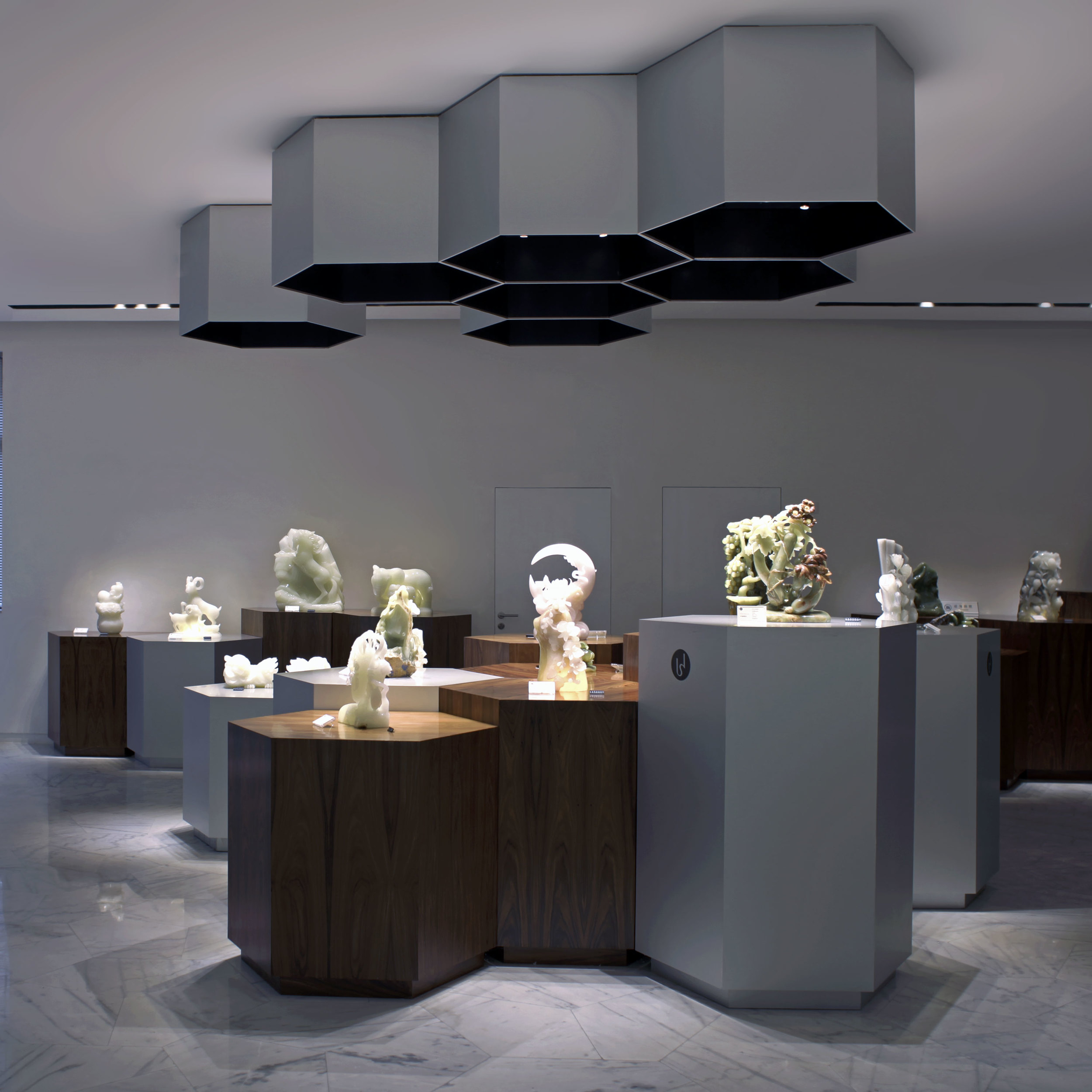 Interior design of a display space for onyx art pieces in Shanghai