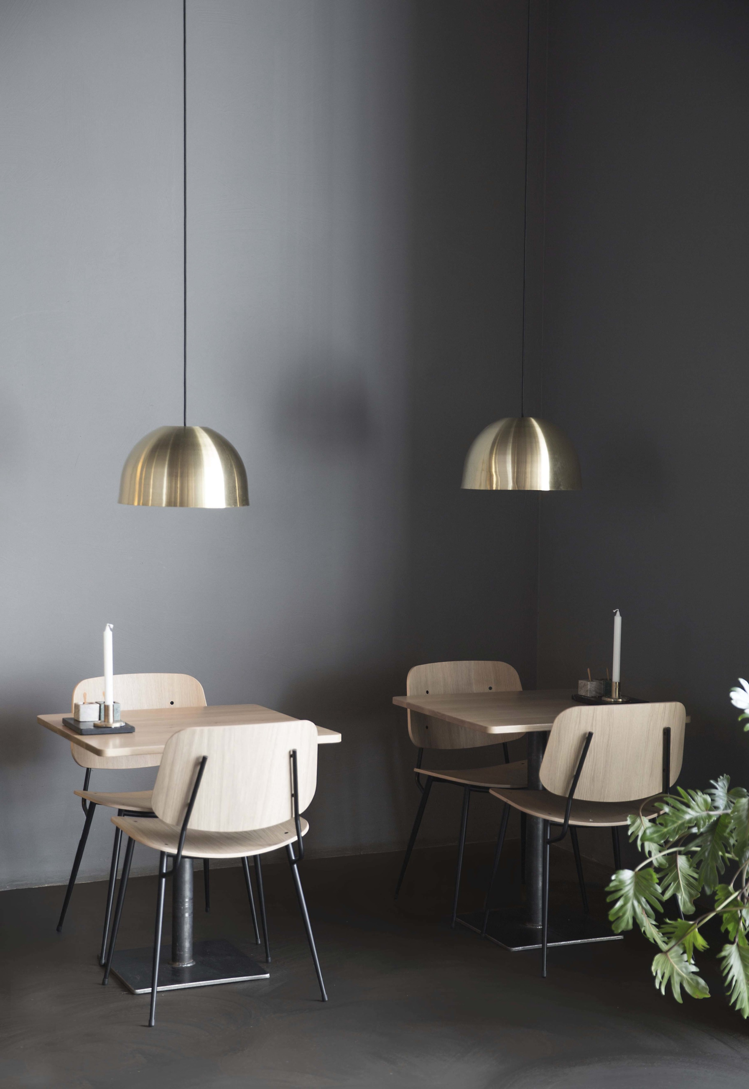 Interior design and Scnadinavian furniture in Palæo restaurant in Copenhagen designed by Johannes Torpe Studios
