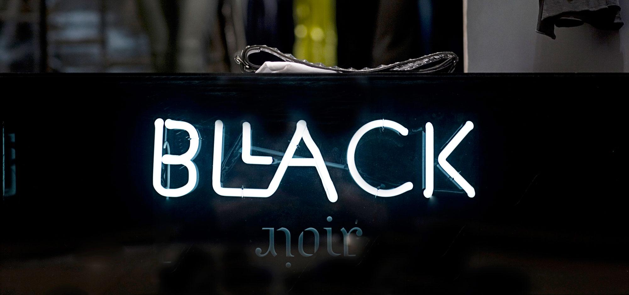 Close-up of the logo of fashion brand Bllack Noir