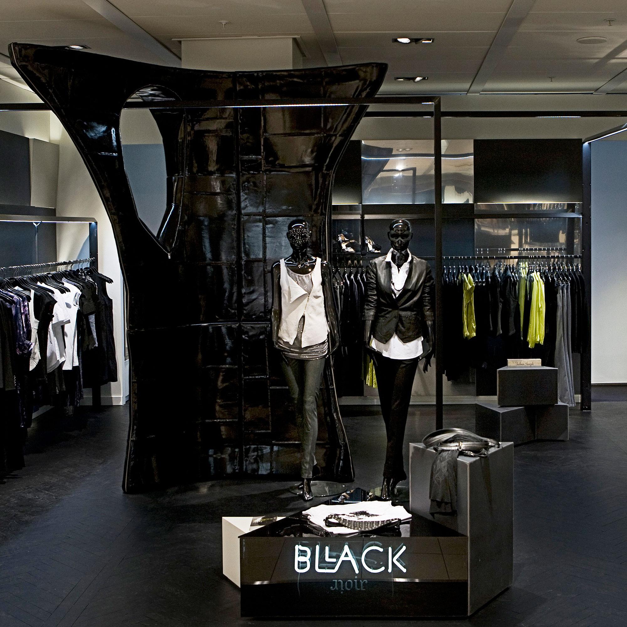 Interior design of luxury-clothing brand Bllack Noir at the retail store located in Copenhagen
