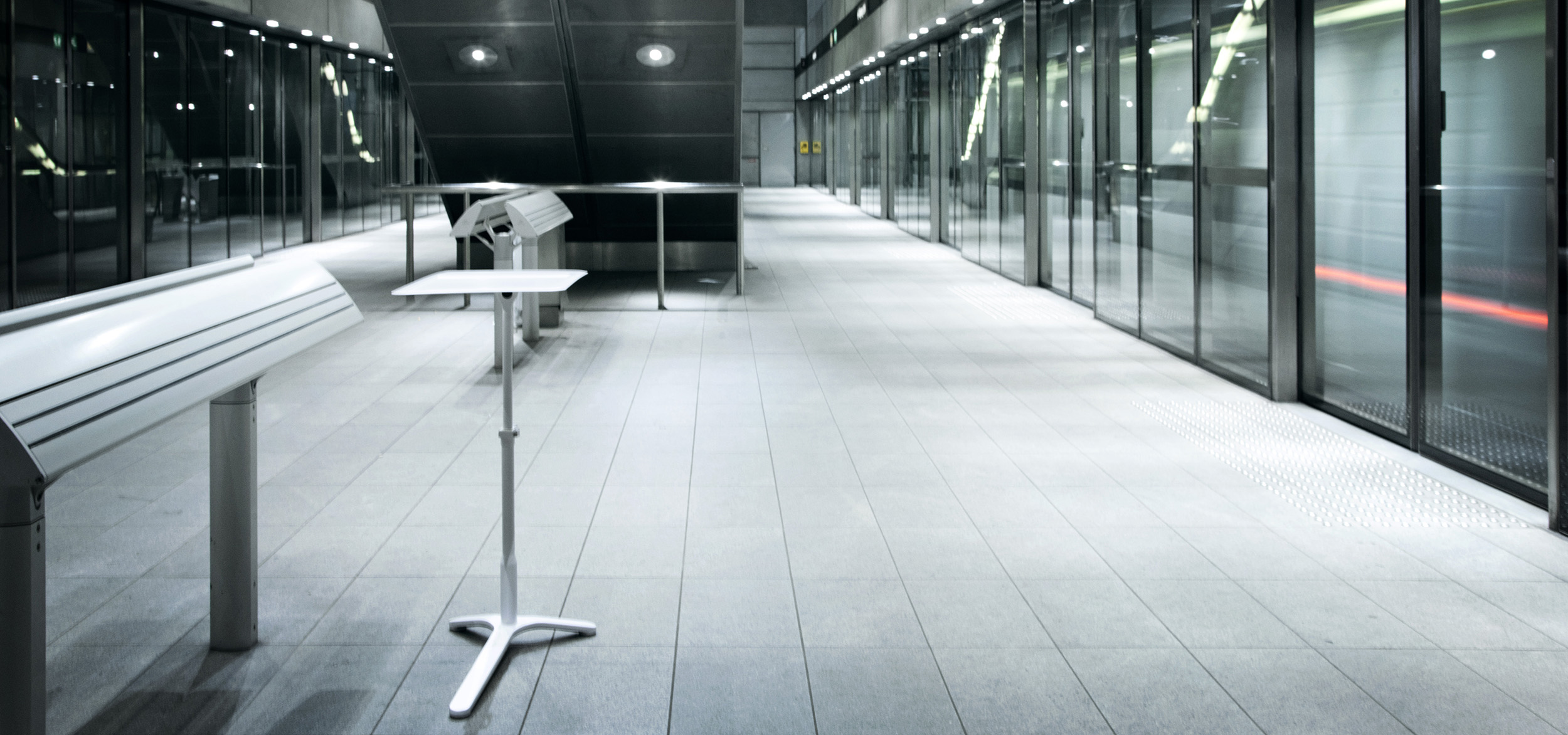 Office furniture design of Haworth Space Enabler displayed in metro station in Copenhagen