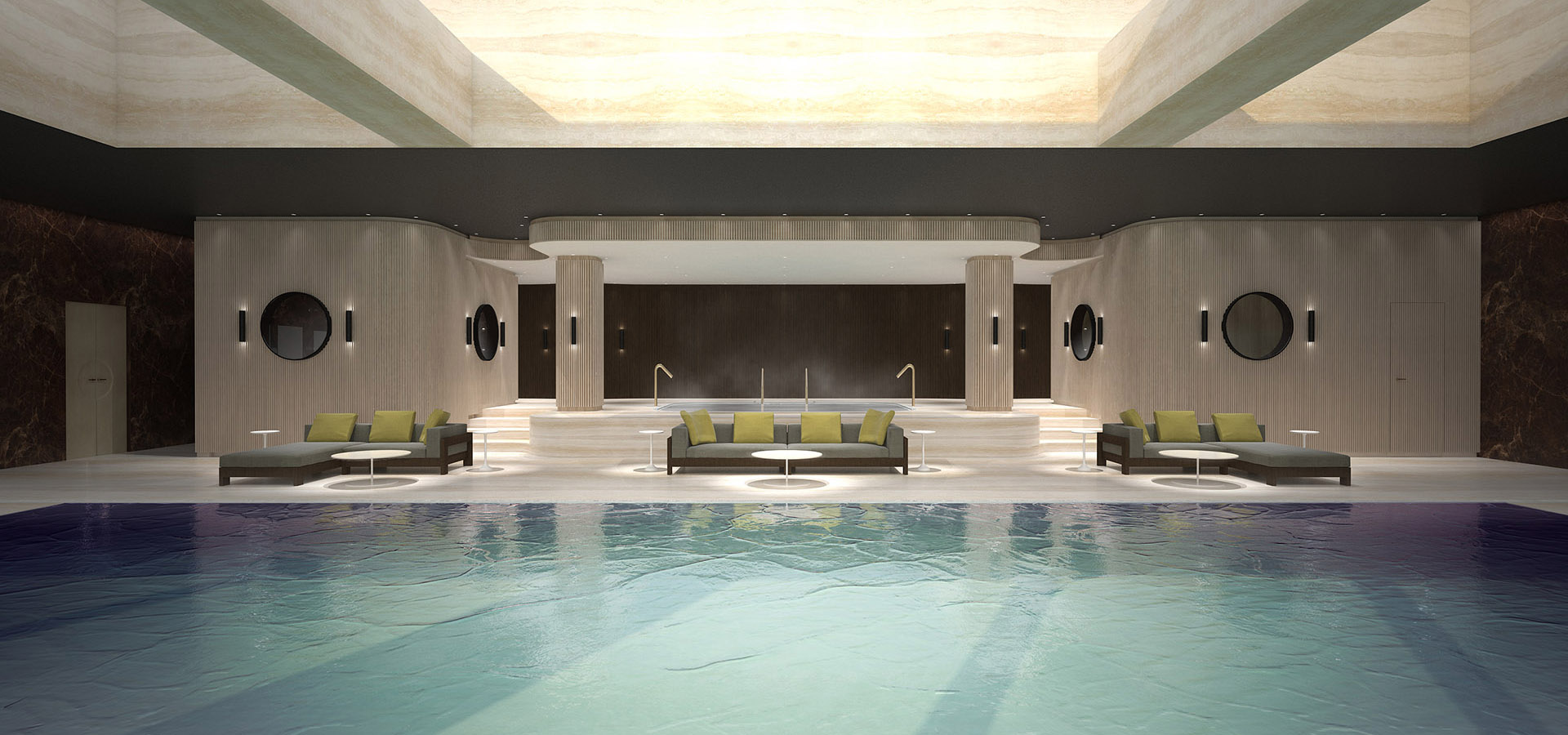 Rendering of a pool at the Chinese private residence Villa Zhao