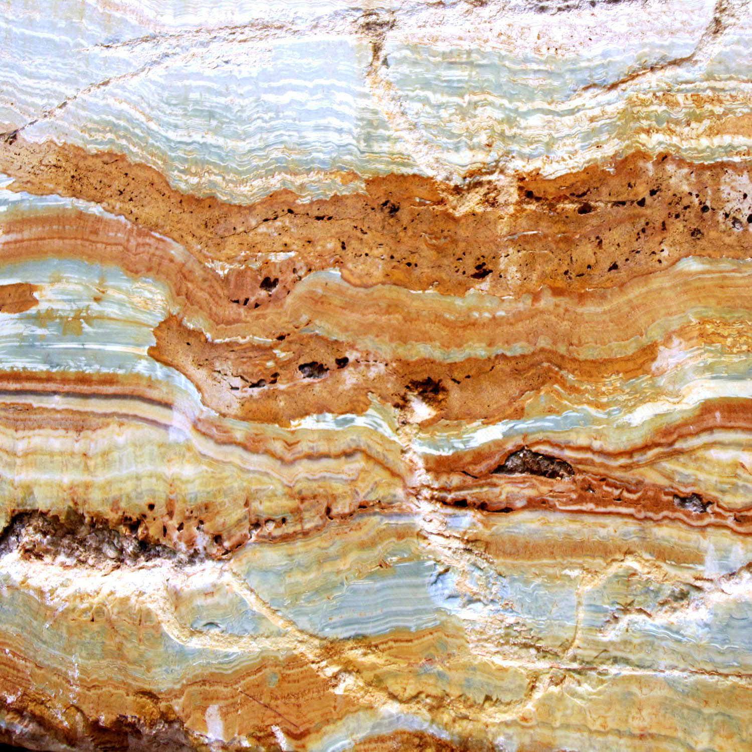 Detail shot of the onyx stone used in the furniture design of the Metamorphic Table