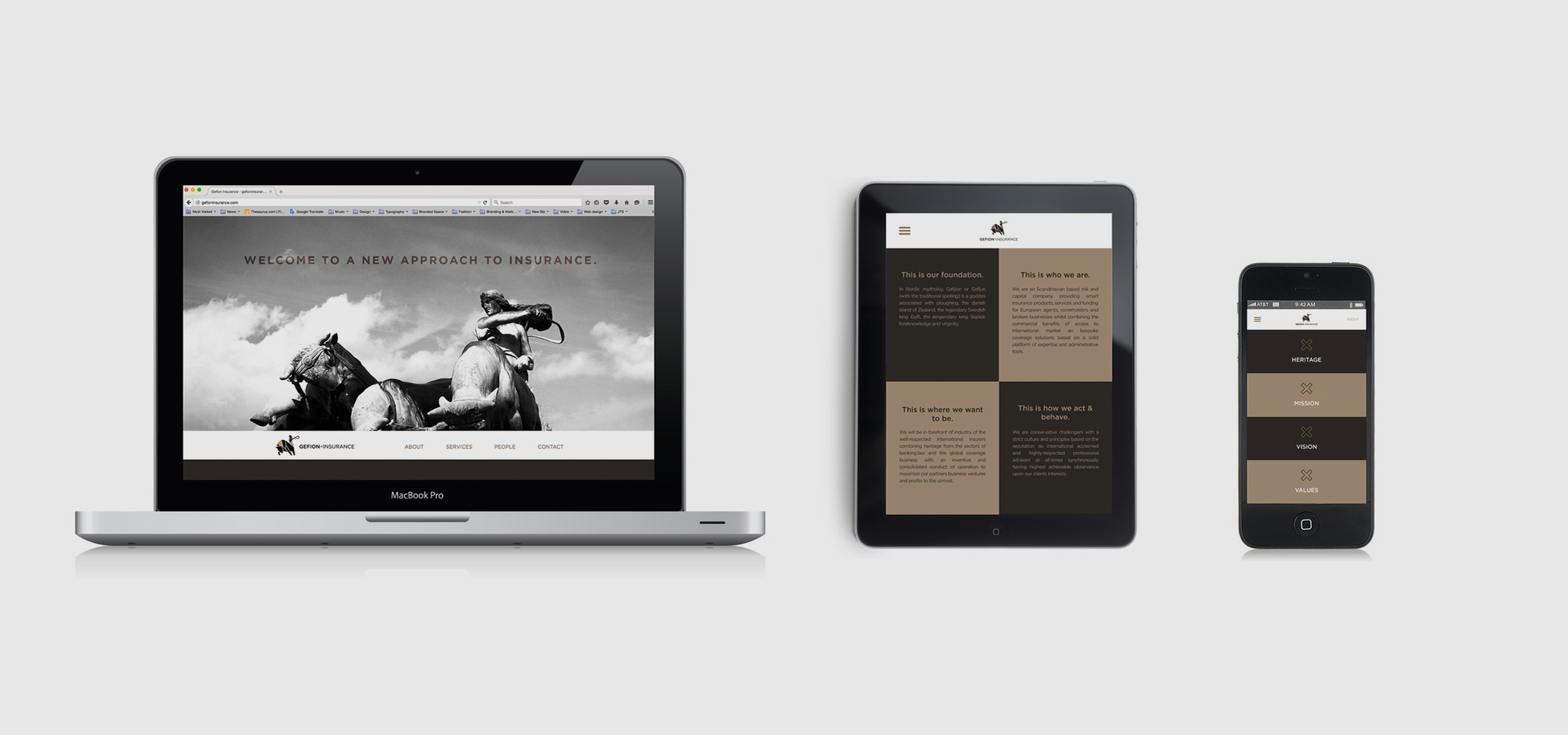 Website design and branding of Gefion Insurance's online presence