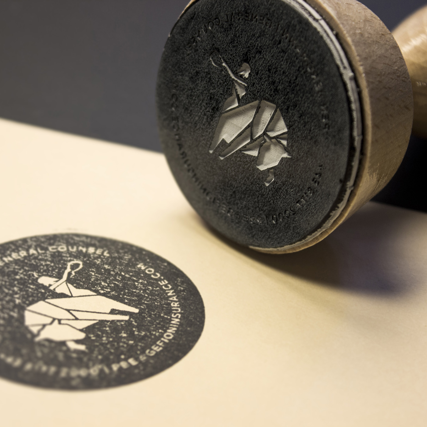 Traditional rubber stamp with graphic design done by Johannes Torpe Studios
