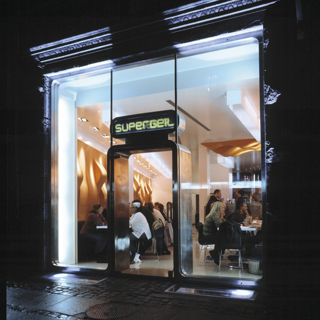 Front entrance to Supergeil restaurant in Copenhagen designed by Johannes Torpe
