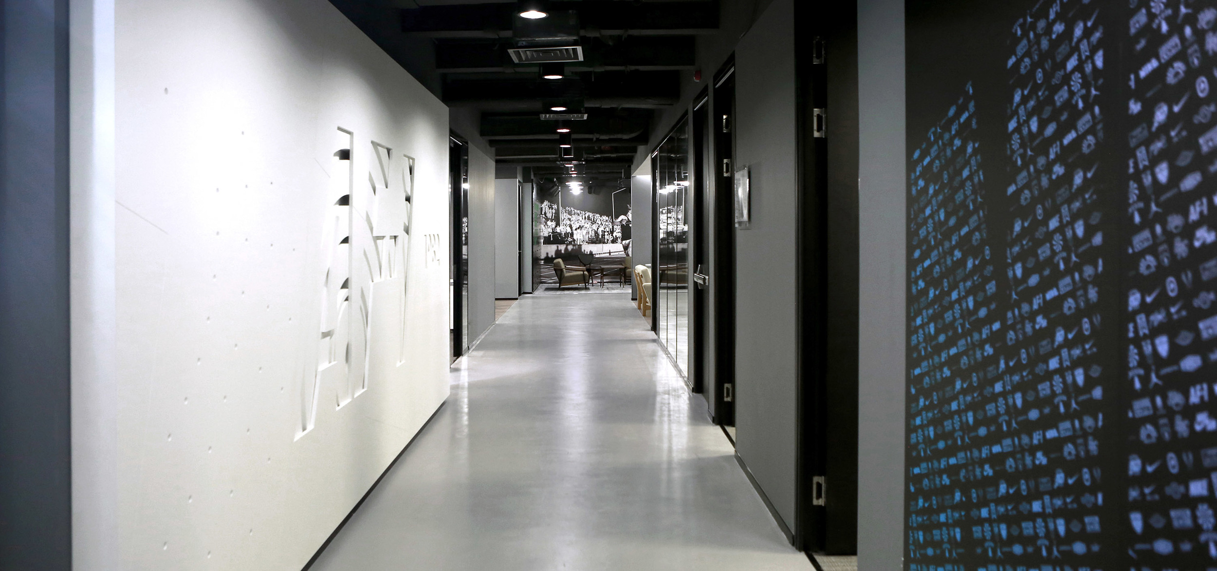 Interior brand installations as office design at Nike headquarters in Asia