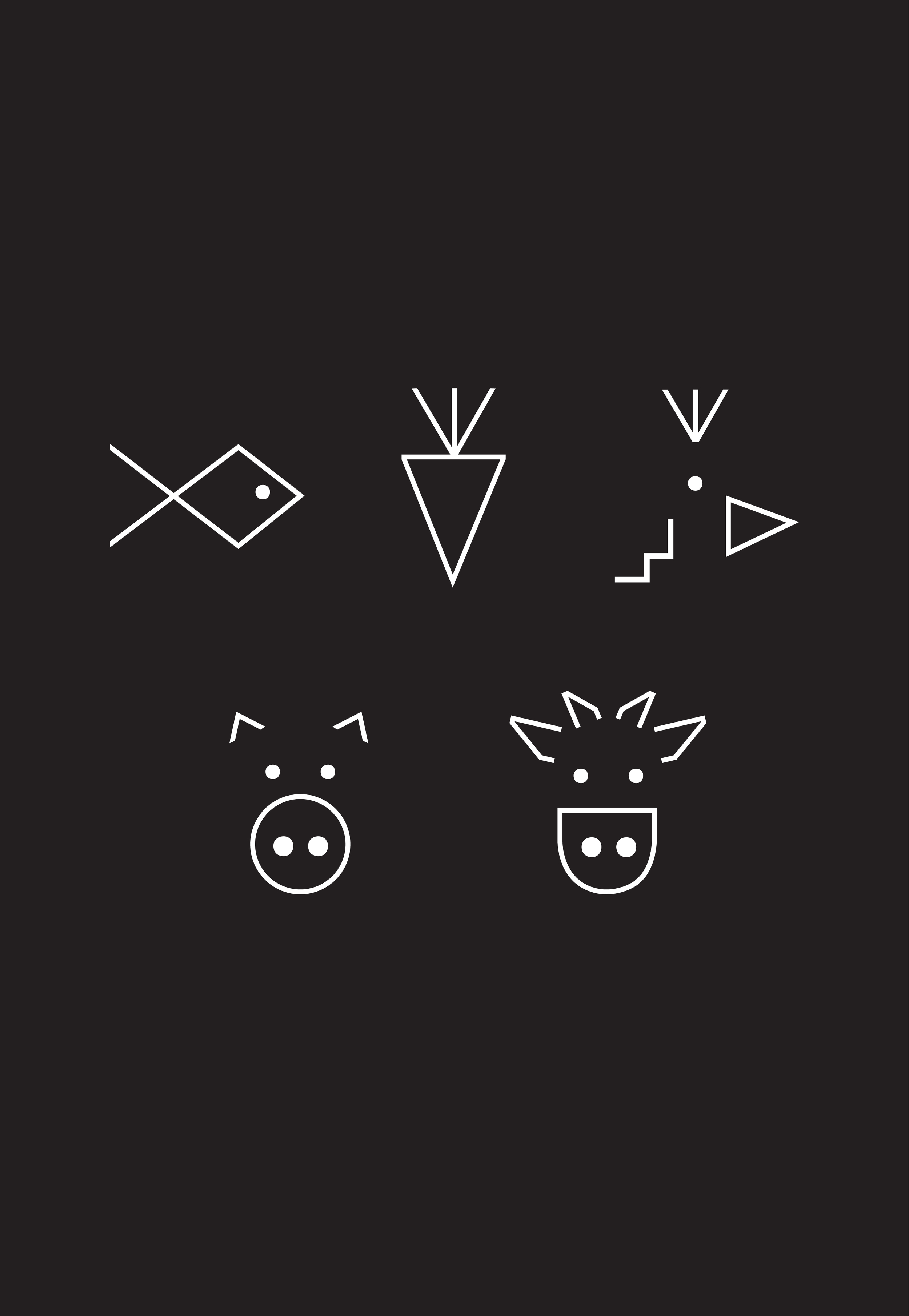 Simple icons of animals designed for packaging design of Paæo wrap
