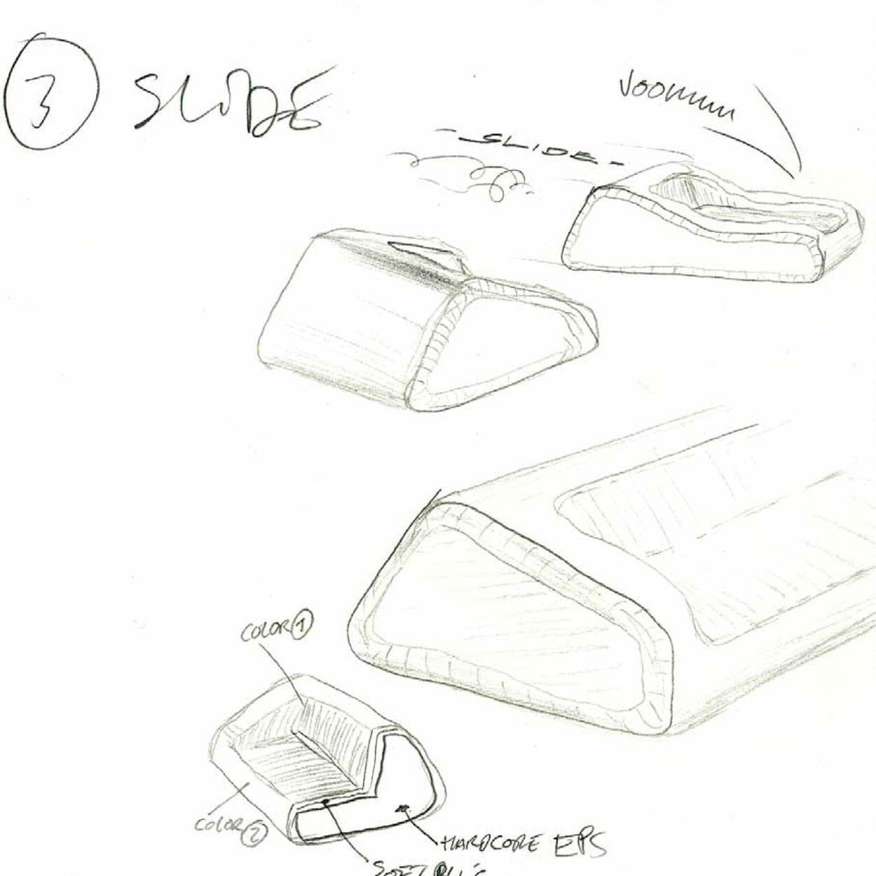 Sketch of mormor sofa explaining the design concept of the sofa developed for HAY
