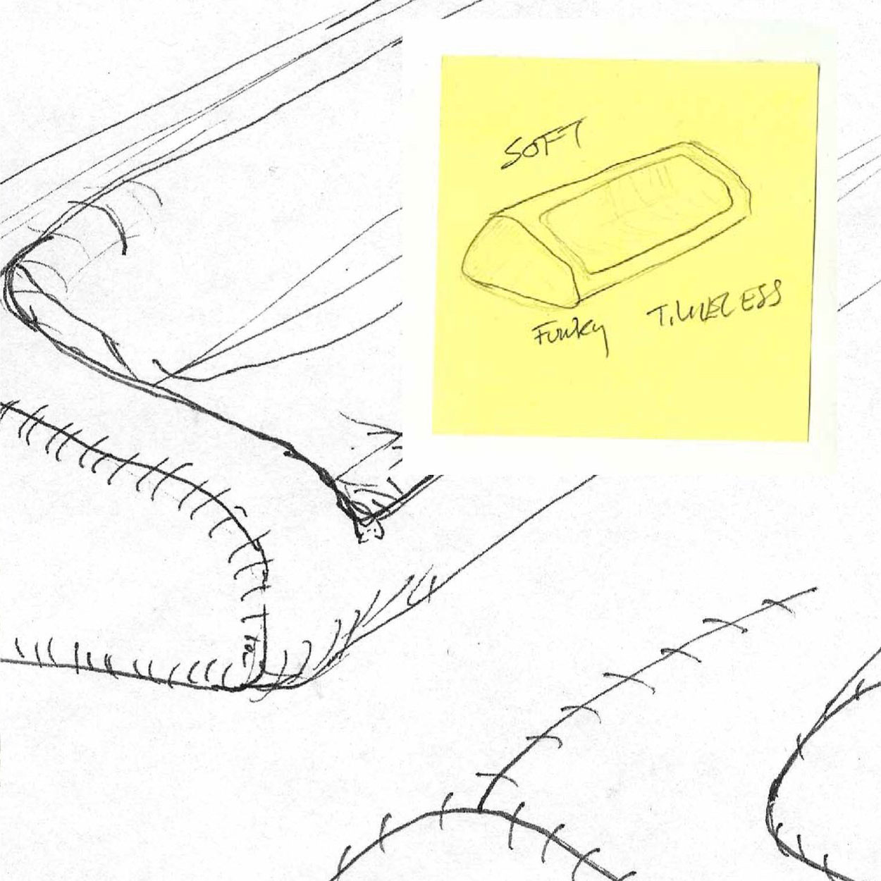 Sketch about the front of mormor sofa designed by Johannes Torpe Studios