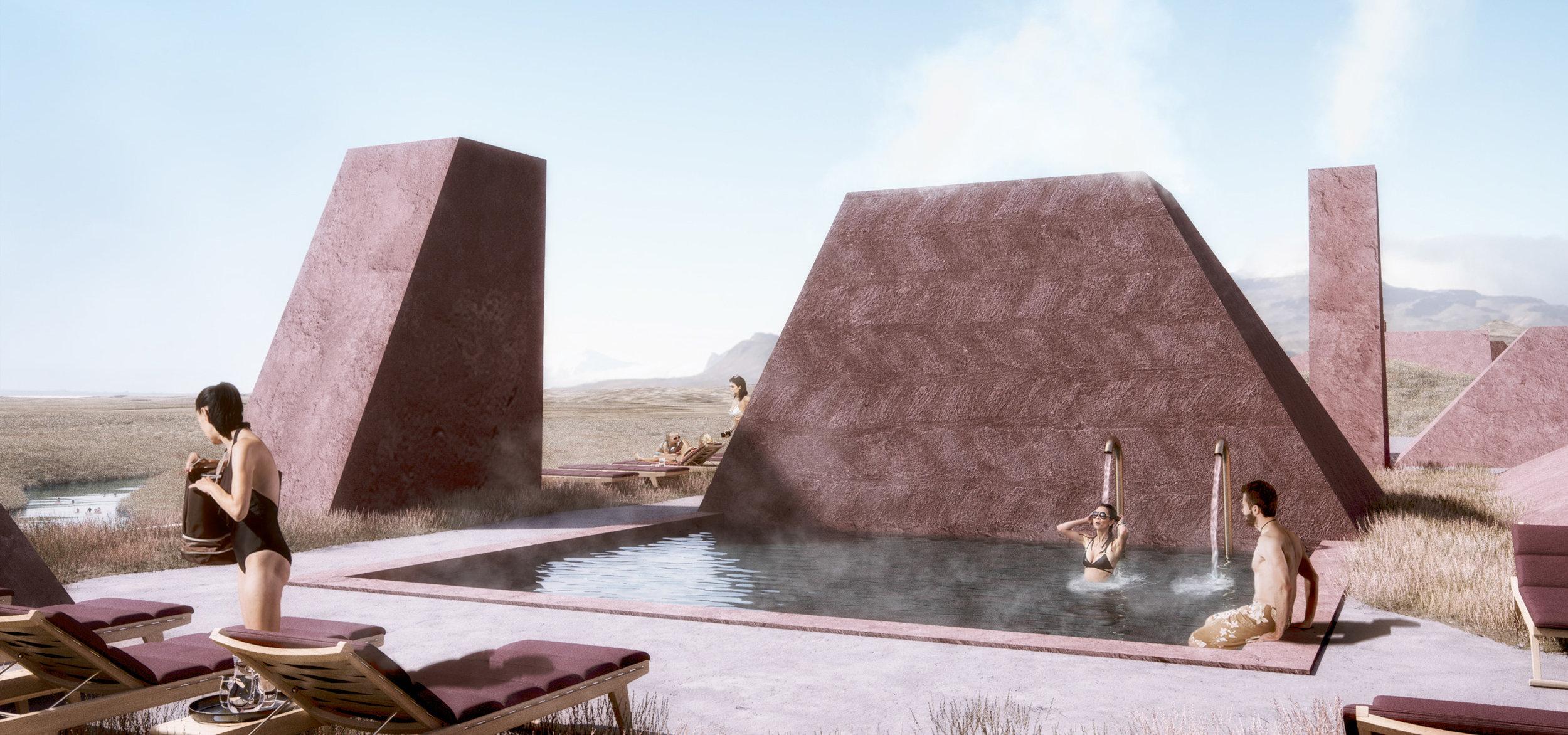 Spa Rooftop Pool - Steam Chimneys - Exterior Design