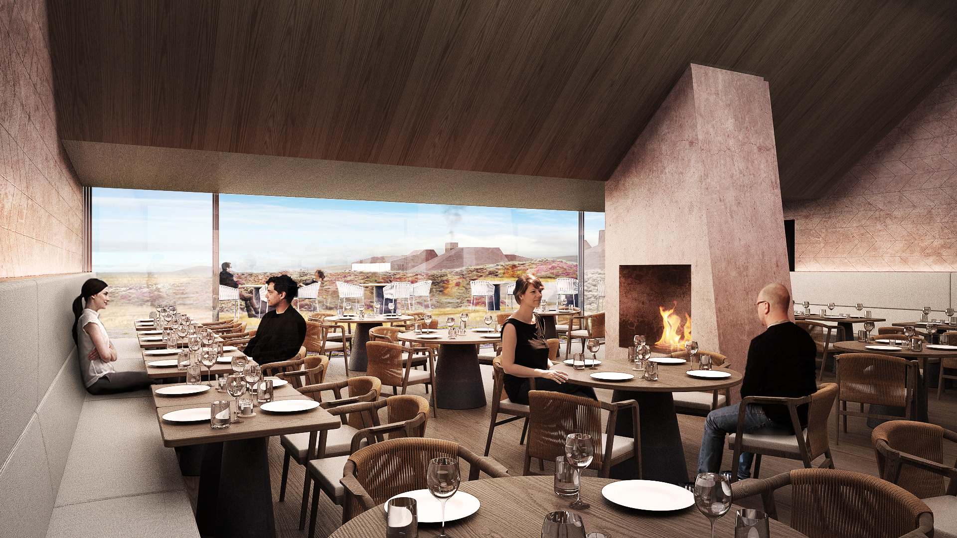 Restaurant area of the Red Mountain Resort characterized by an elegant glass wall and river stone