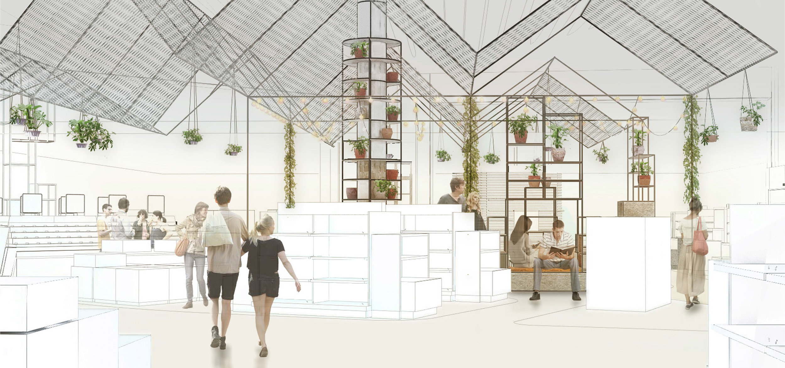 Graphic design of the re-think zone visualized like an open courtyard at Copenhagen Airport