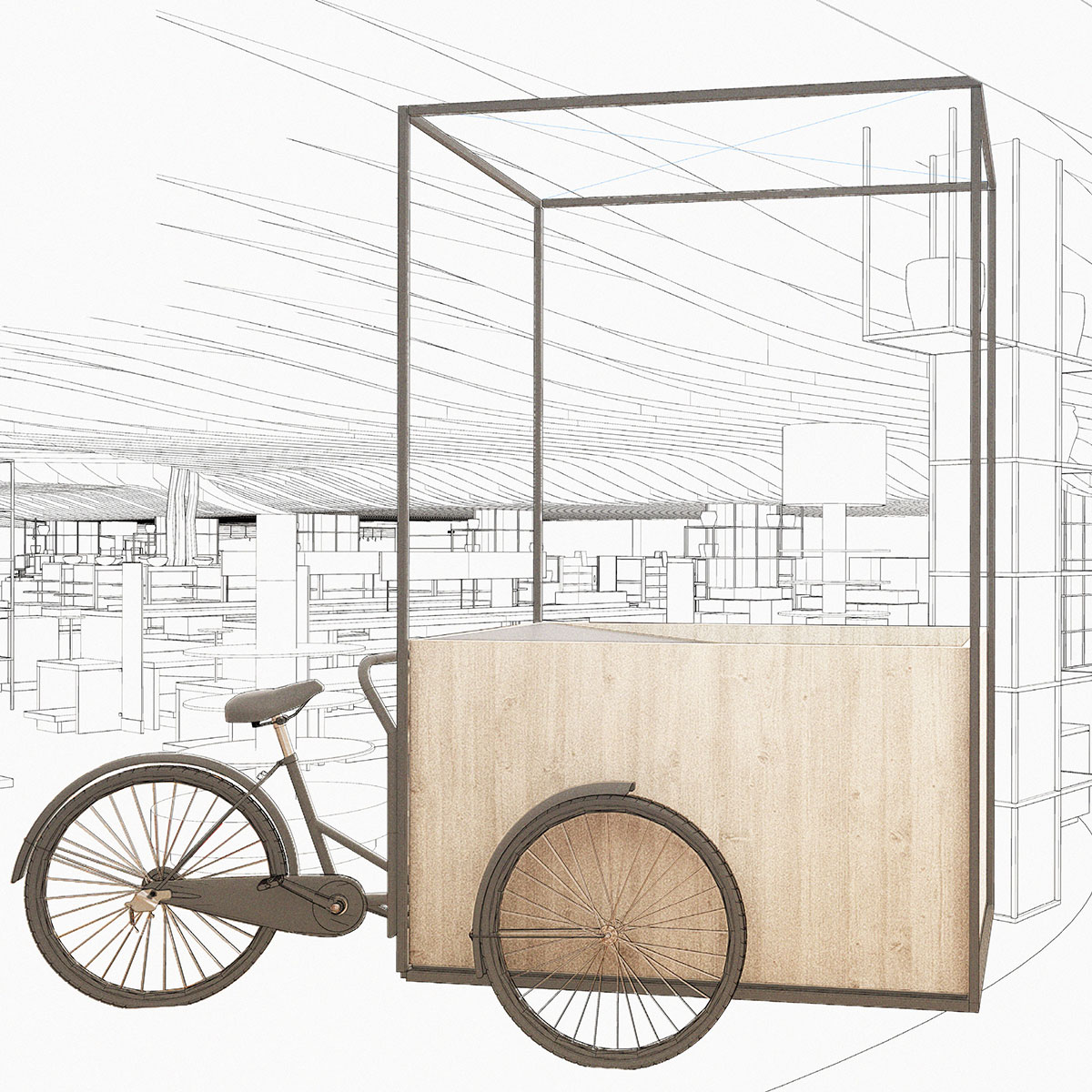 Cargo bike transformed into a waterbike as part of the design concept for TAX FREE by Johannes Torpe Studios