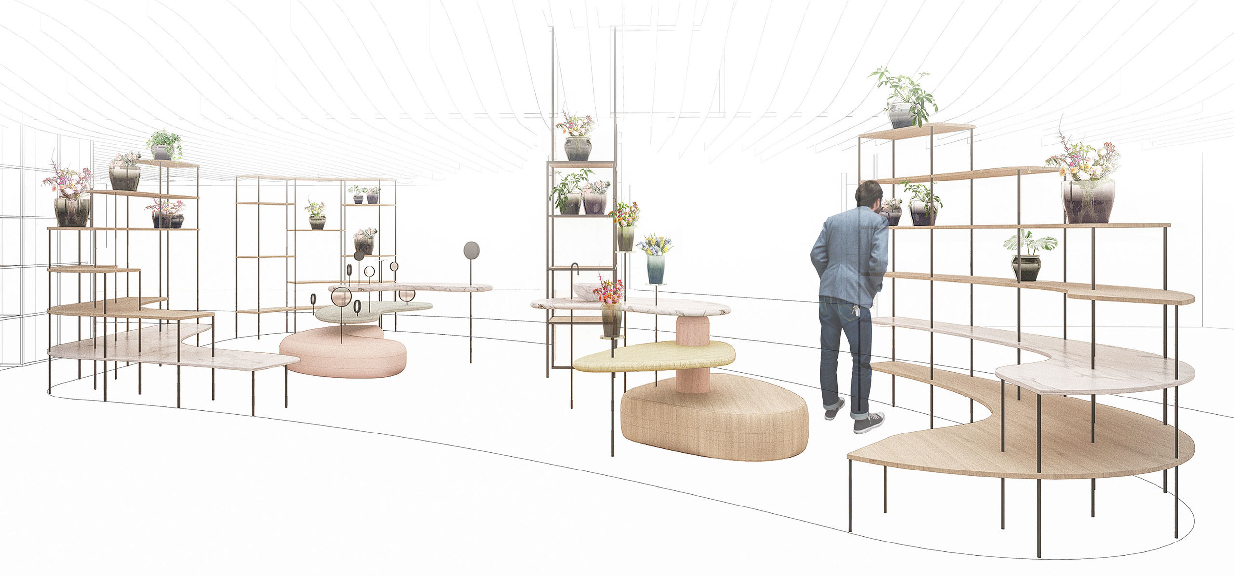 Illustration of the nature zone designed for TAX FREE at Copenhagen Airport dominated by wooden furniture and natural tones