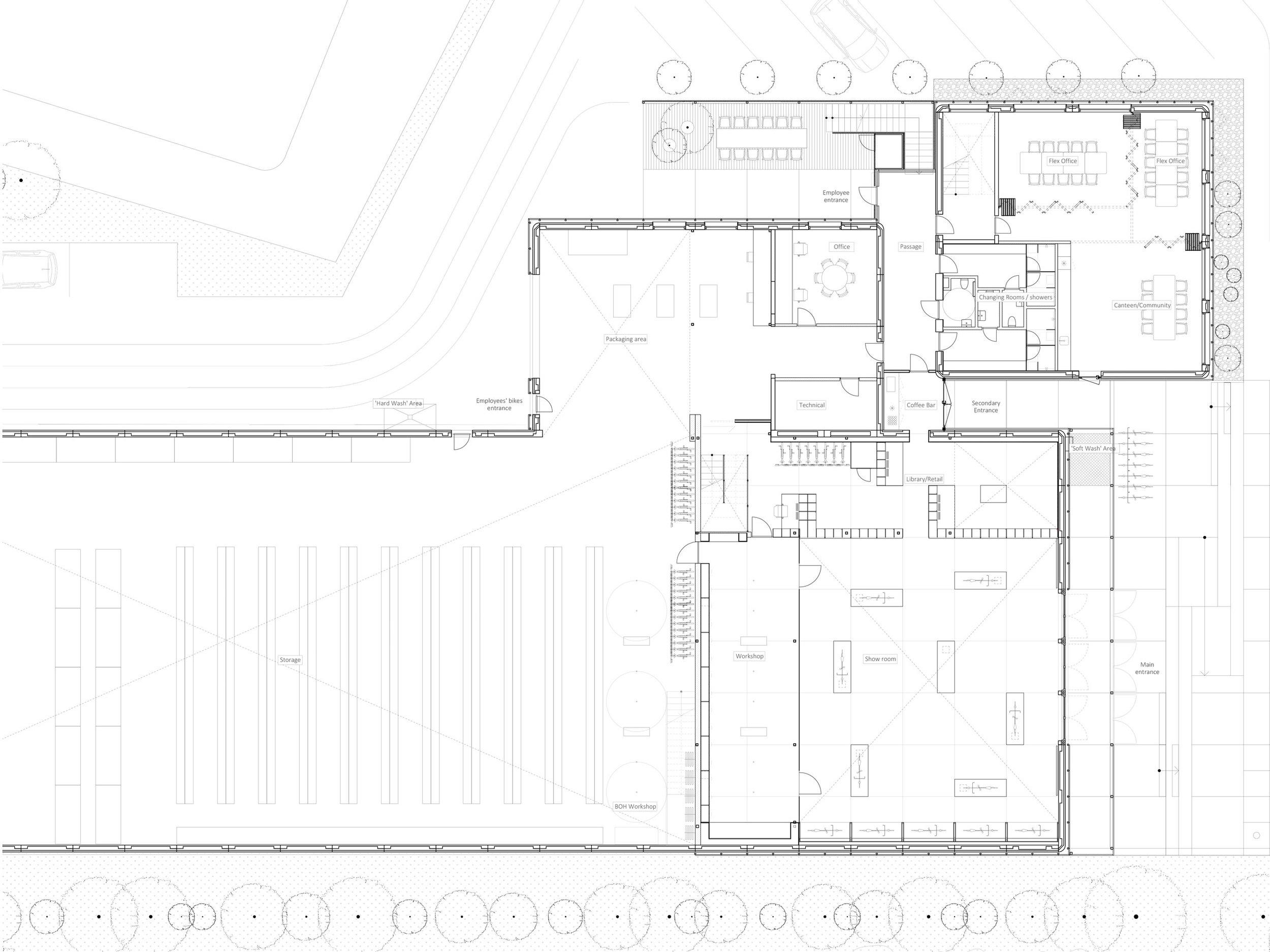 Plan, Ground floor, 1:150