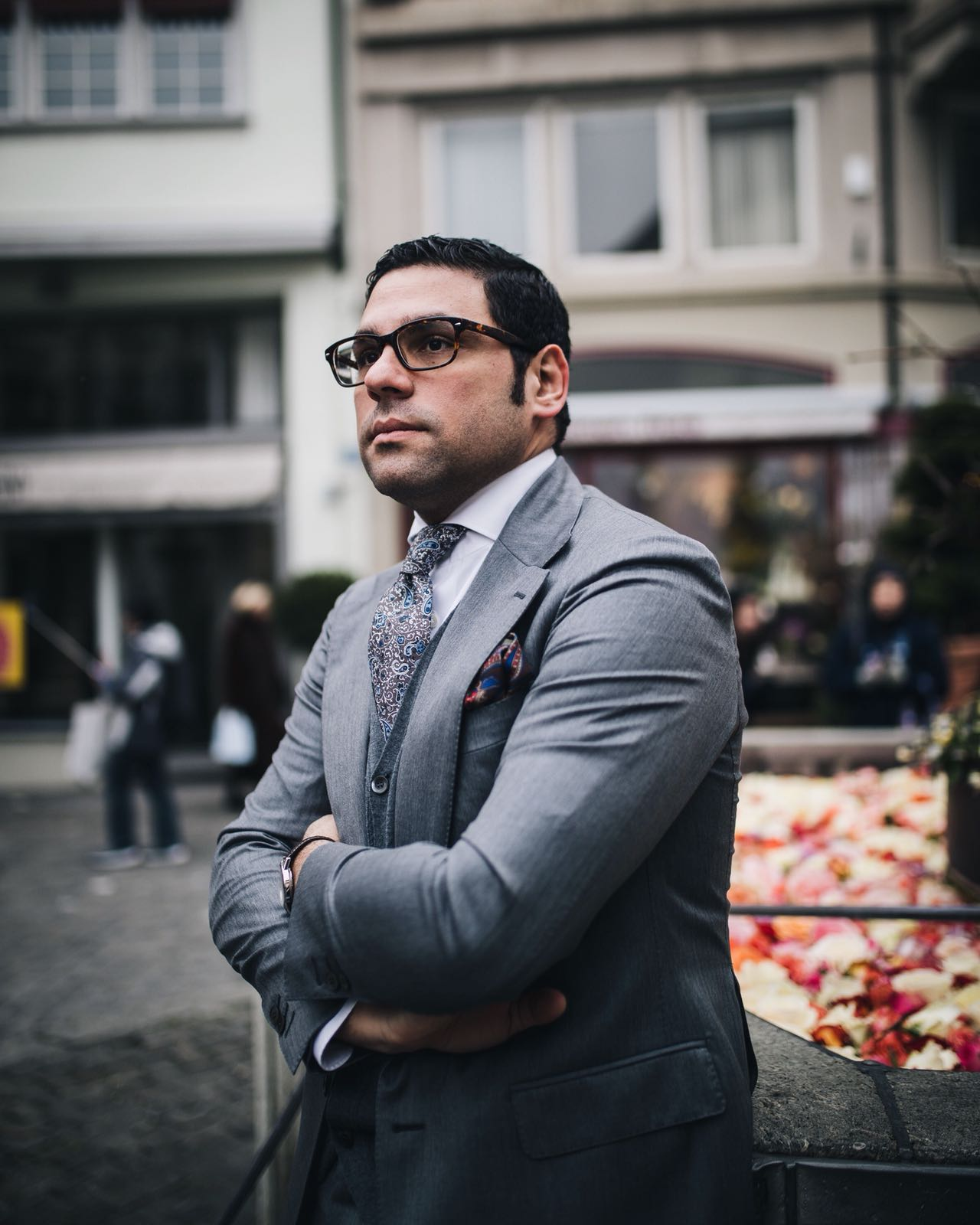 "Paolo is wearing a two piece ""the amarcord suit"" with wide notch lapel and classic pockets. Fabric used:  grey solaro"