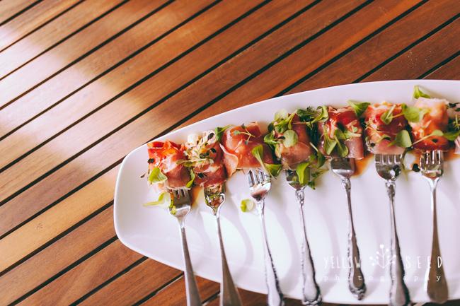 Prosciutto mozzarella forks with vino cotto dressing