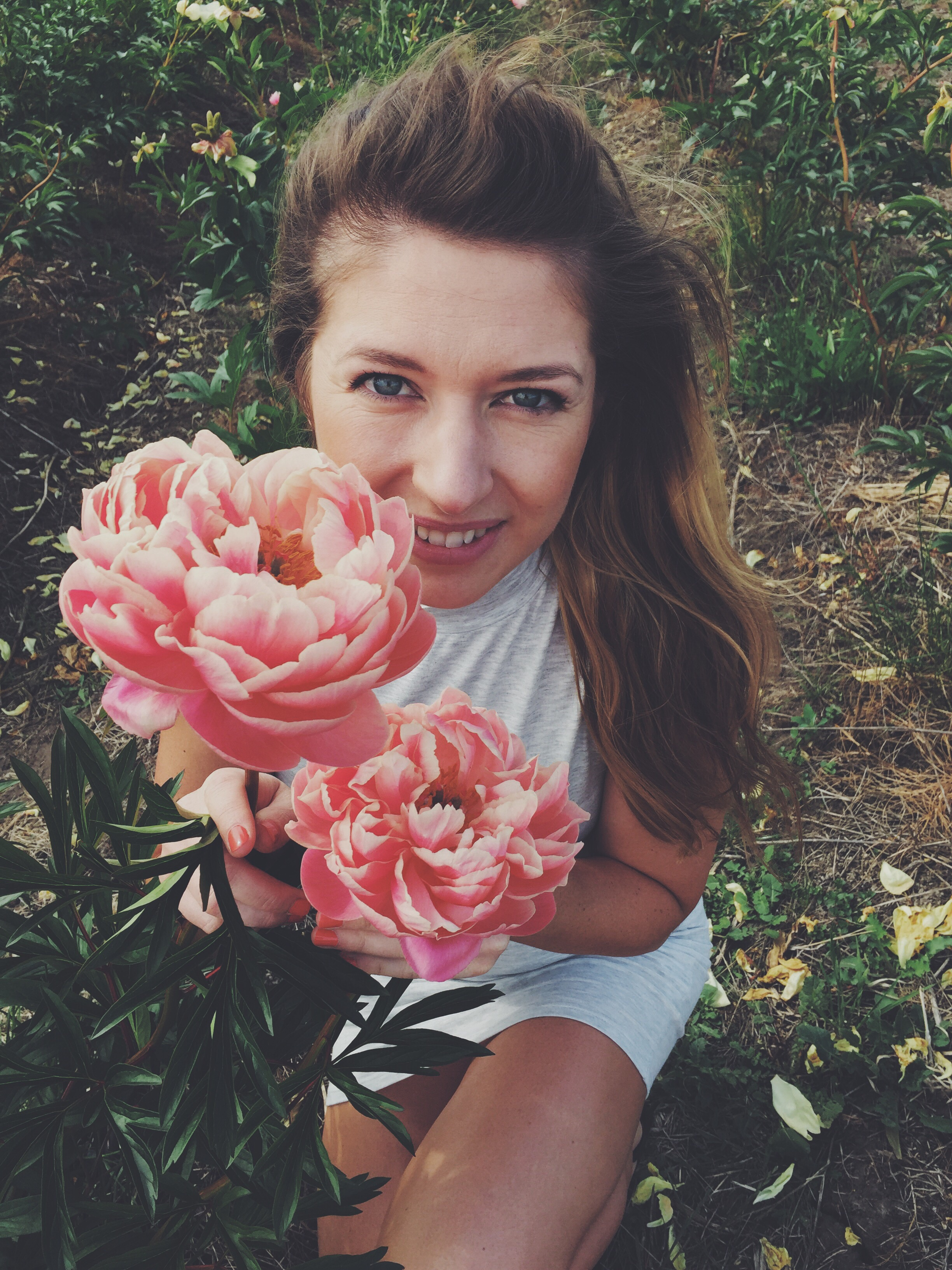 with my favourite coral peonies