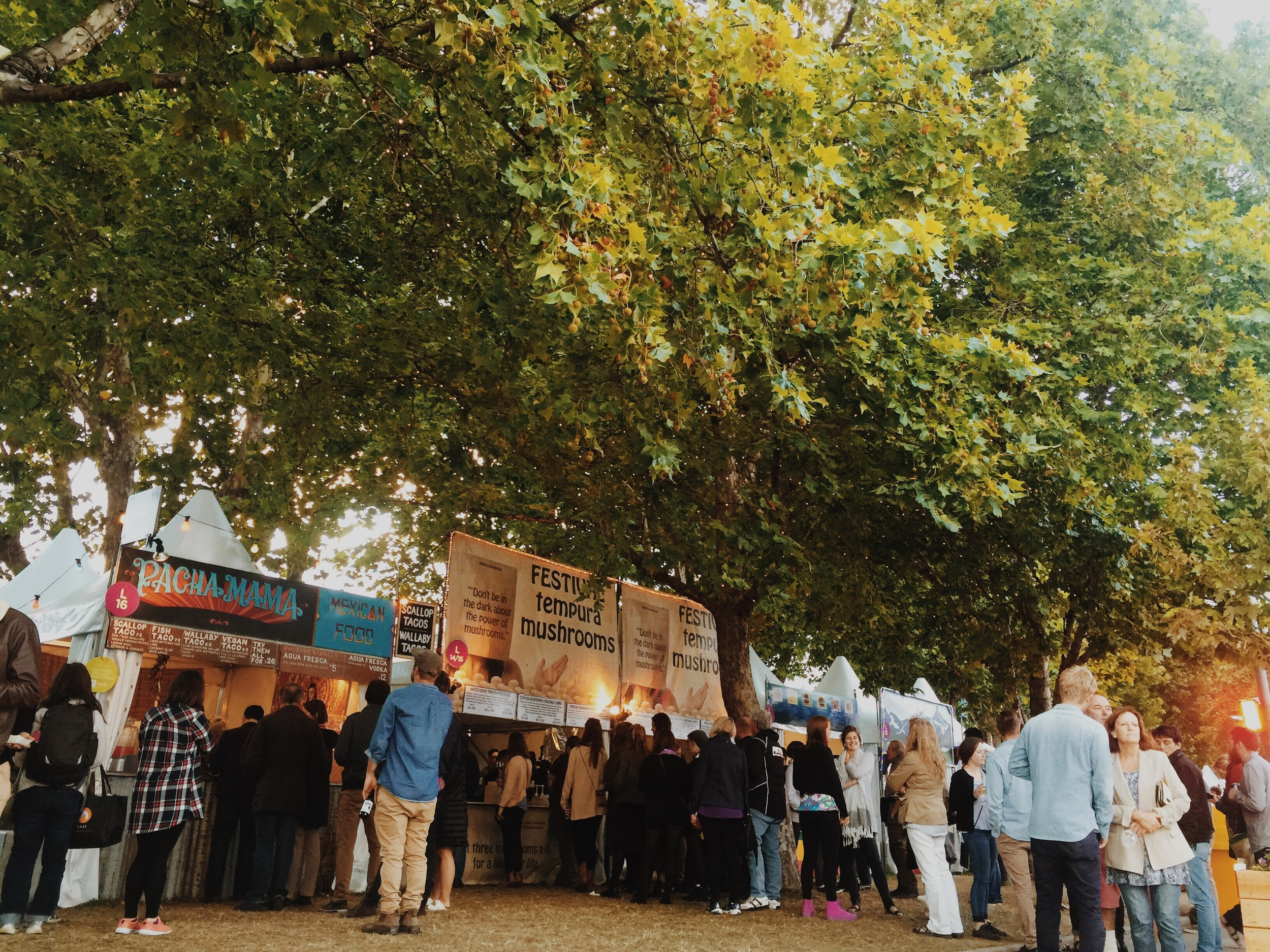 Food stalls and happy feasters on the Salamanca lawns