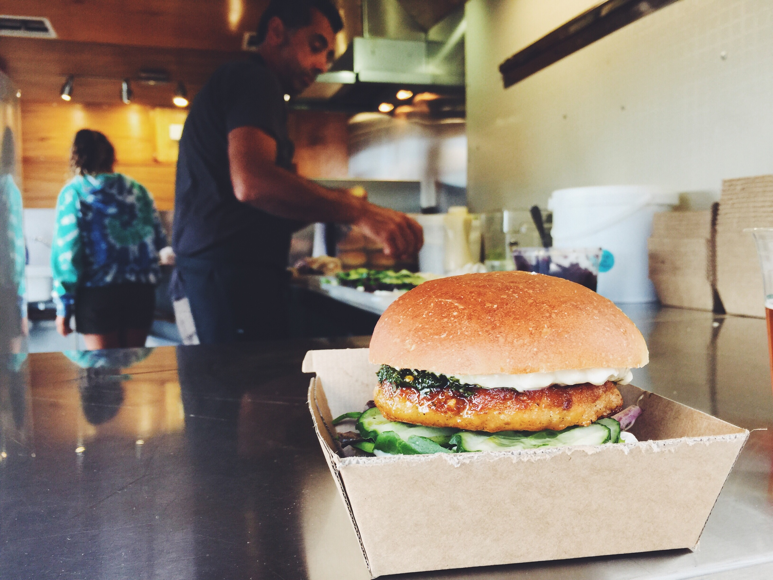 Delicious salmon burger from Coburg & Co
