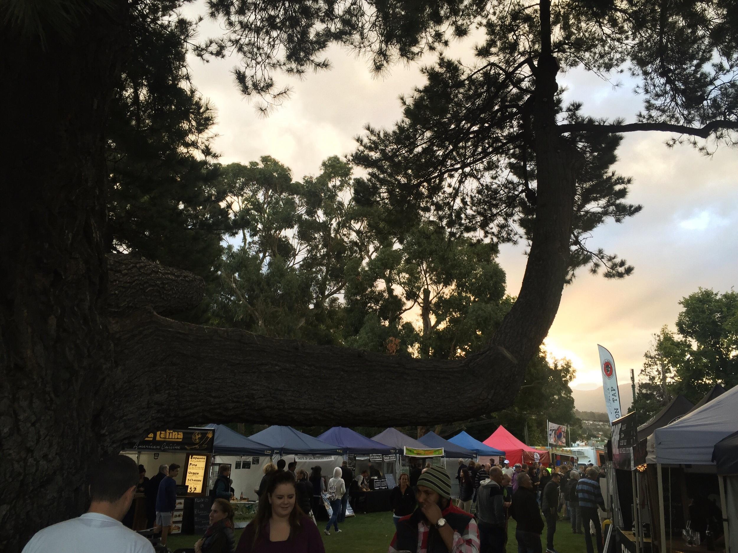 Sunset behind the Hobart Twilight Market