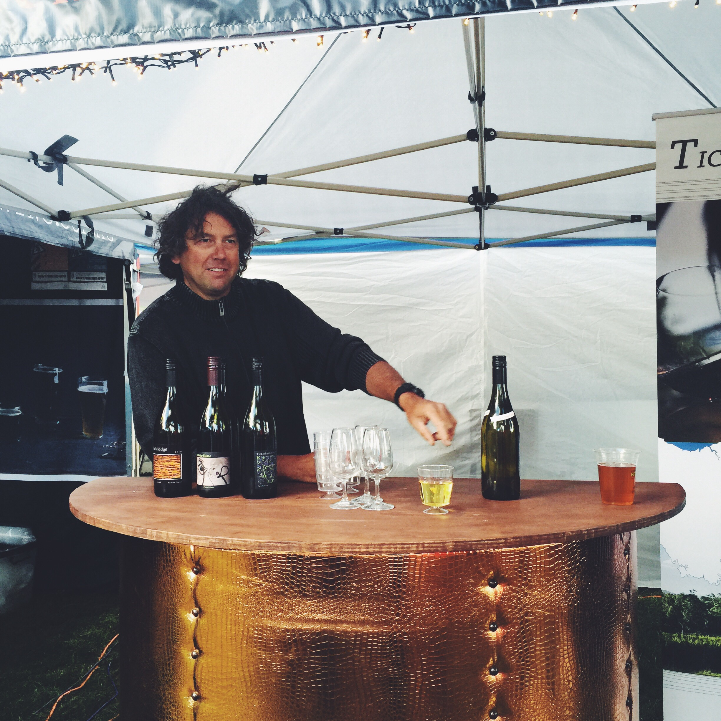 Tickleback Ridge Wines lured me in at my very first market with their suits and bow ties. I'm not sure what's happened to their snappy dressing but I still get their wine without fail.