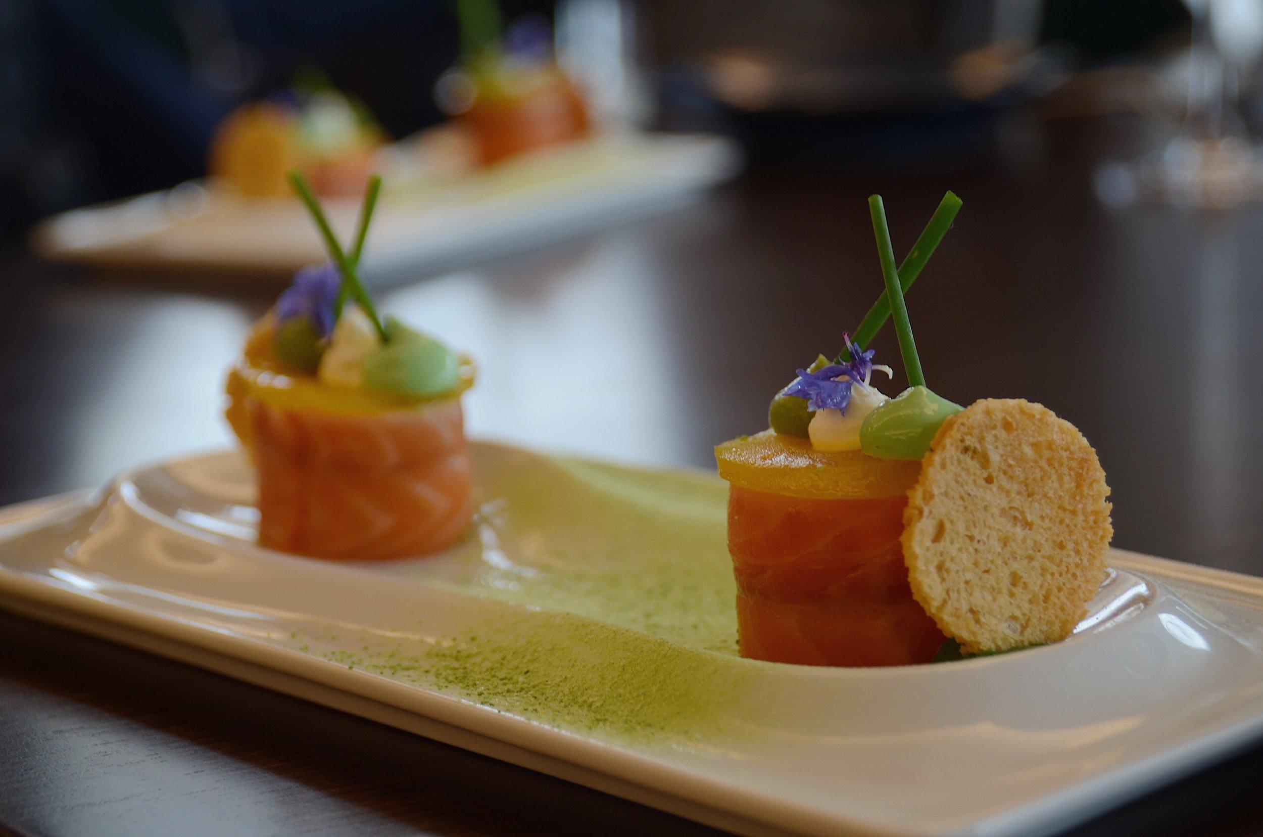 salmon dish side on