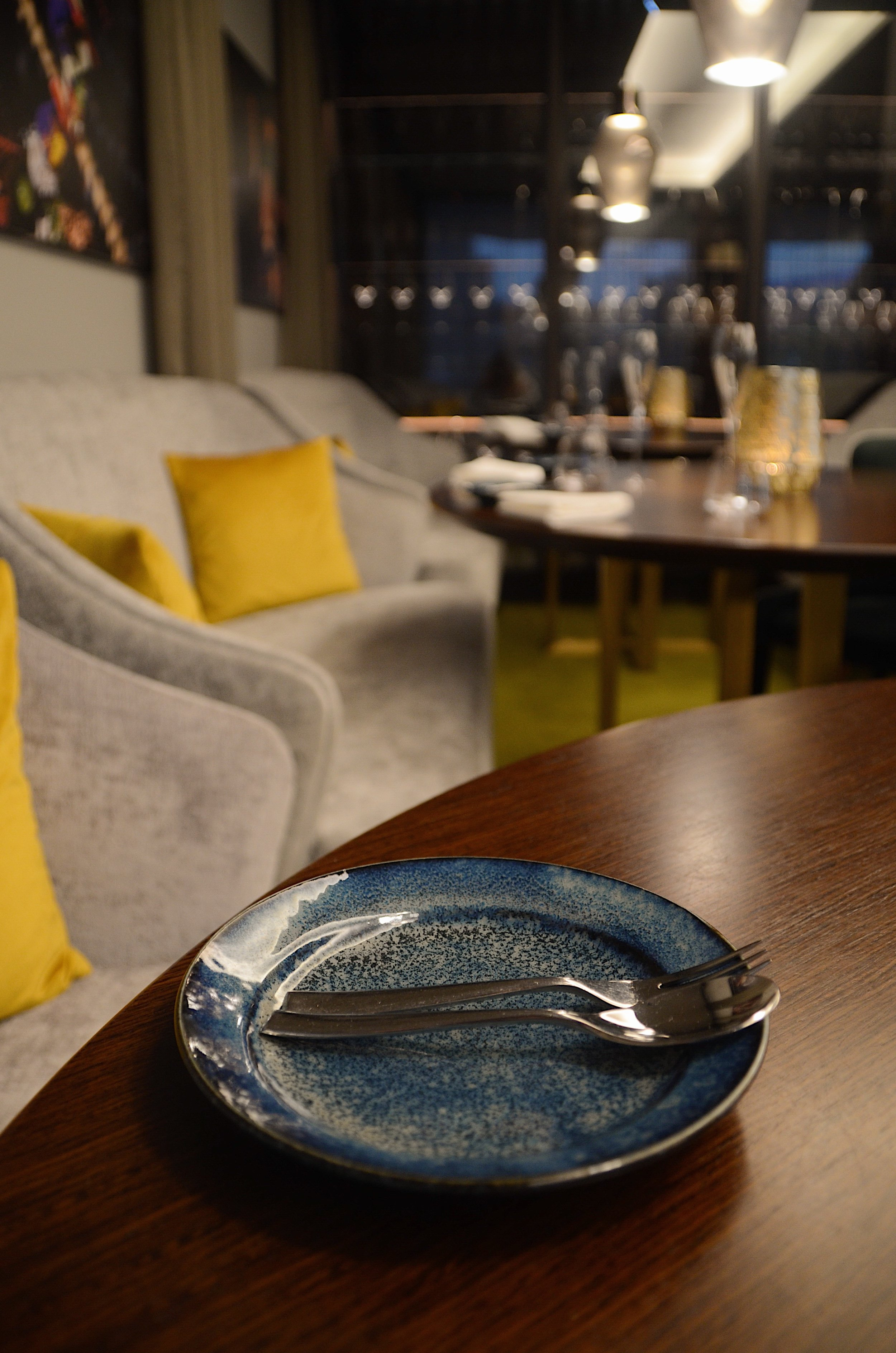 casual seating and beautiful glazed crockery