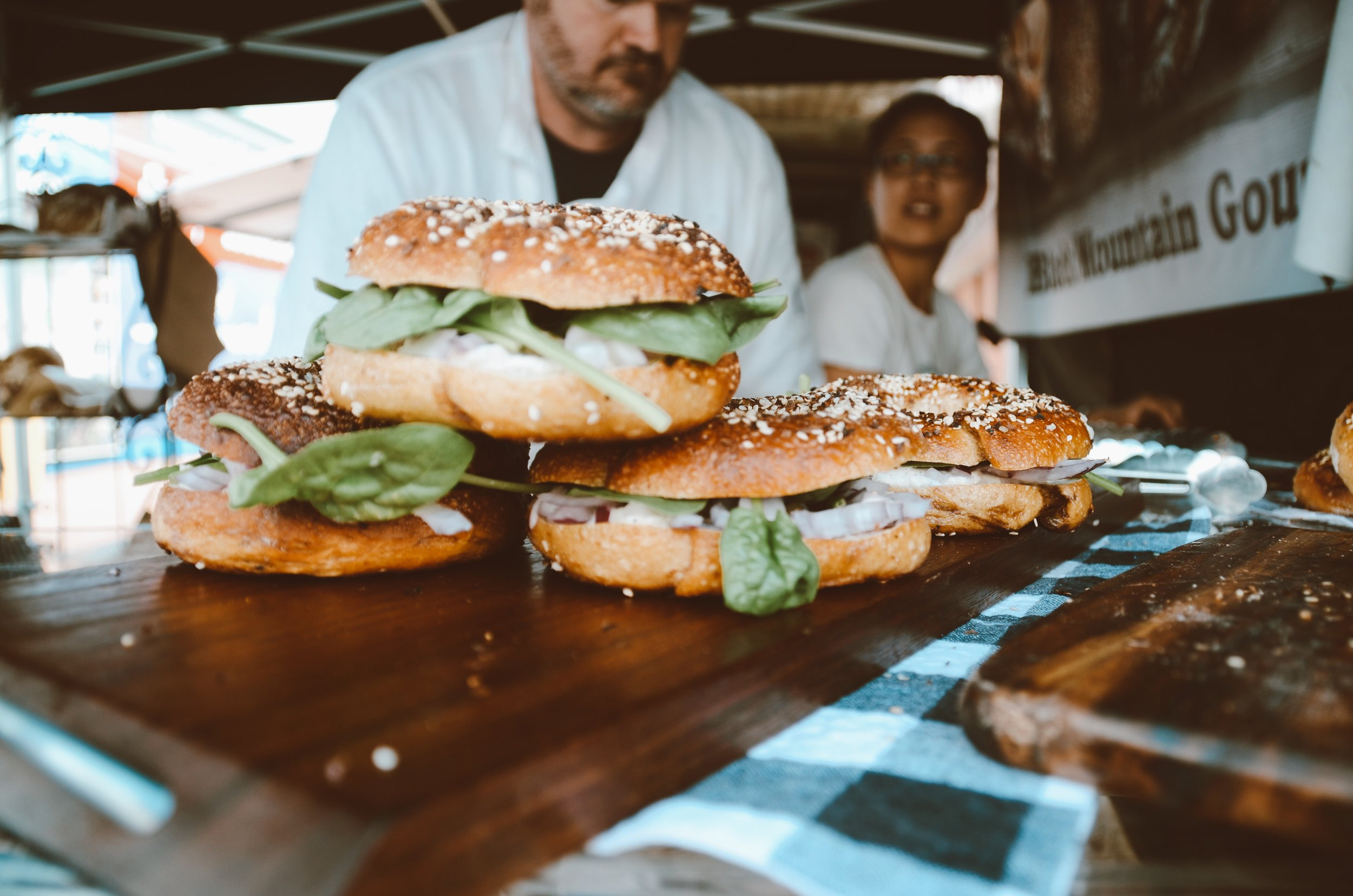 Bagels at the Black Mountain Gourmet market stall