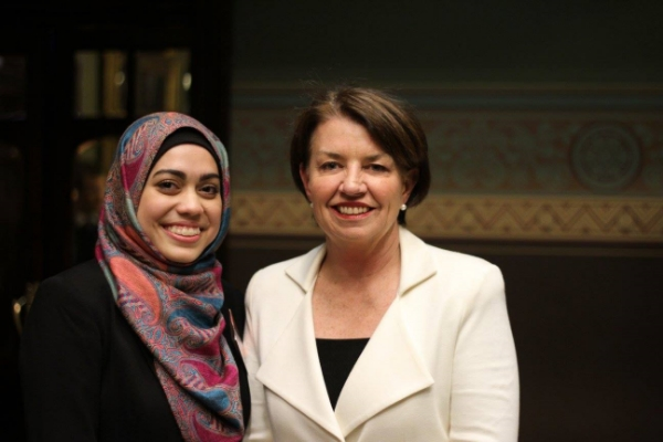 Iman with QLD's Former premier, Anna Bligh. Reppin' QLD!