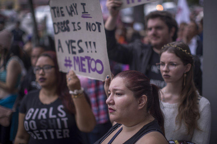 DAVID MCNEW VIA GETTY IMAGES  Demonstrators at the #MeToo Survivors' March in Los Angeles last month.