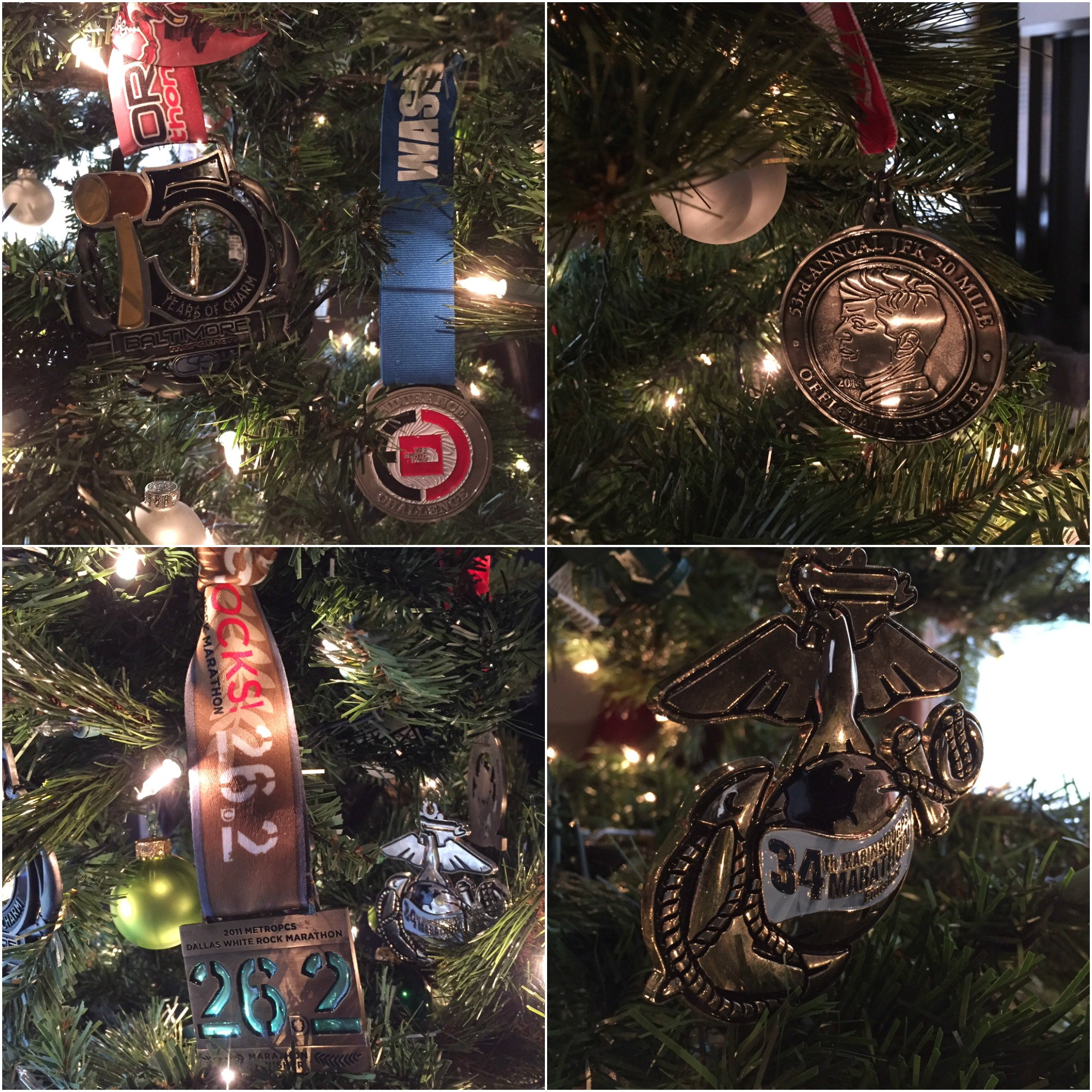 Christmas decor, aka race medals clockwise from top left: 2015 Baltimore Marathon and 2015 North Face Endurance 50K; 2015 JFK 50-miler; my first marathon, the Marine Corps Marathon; 2011's miserable Dallas White Rock Marathon #neveragain