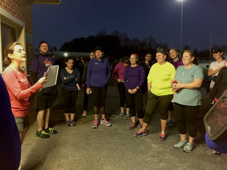 Chatting it up with Charm City Run Columbia training group, March 8, 2017.